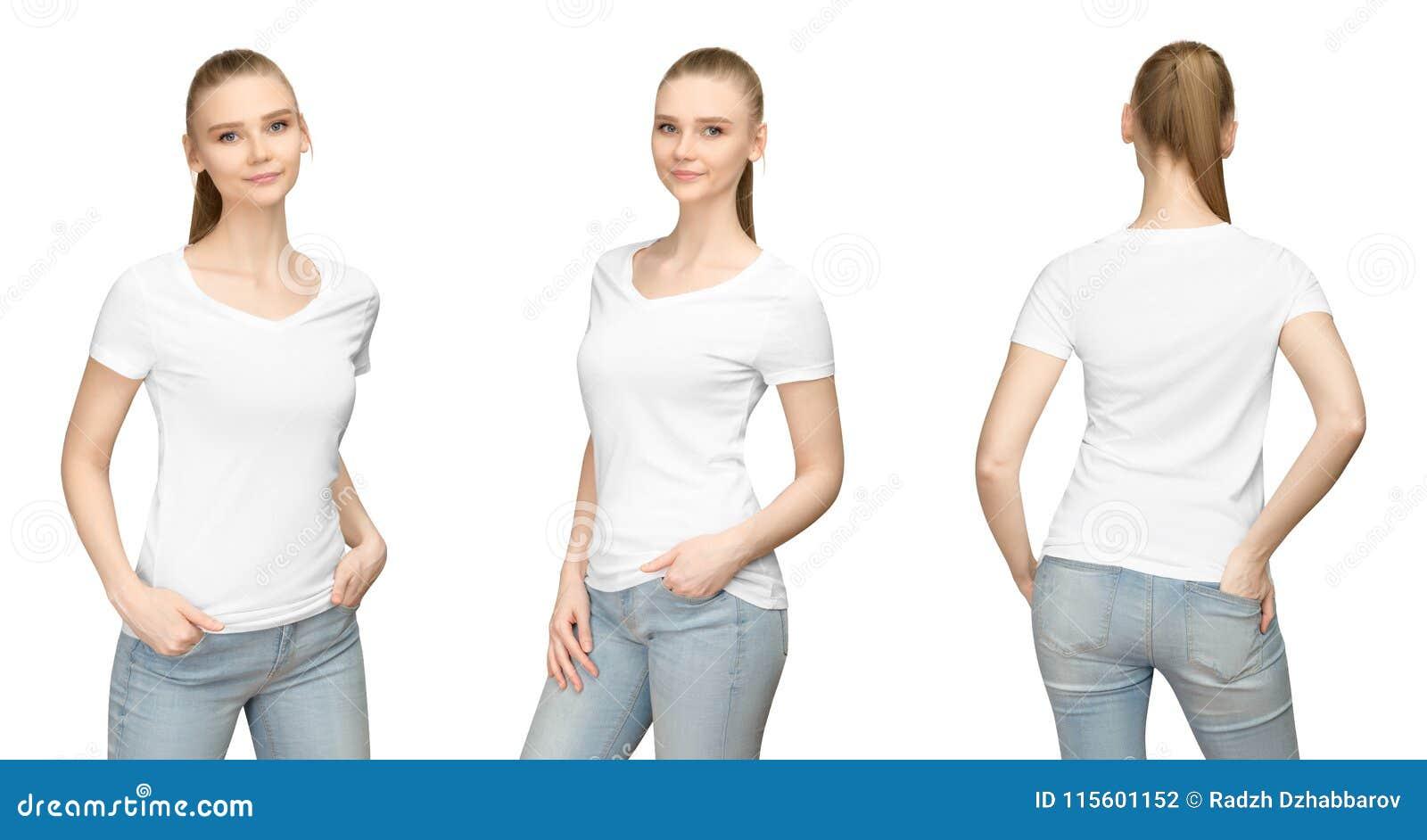 Menina ajustada da pose no projeto branco vazio do modelo do tshirt para a cópia e a jovem mulher do molde do conceito na opinião
