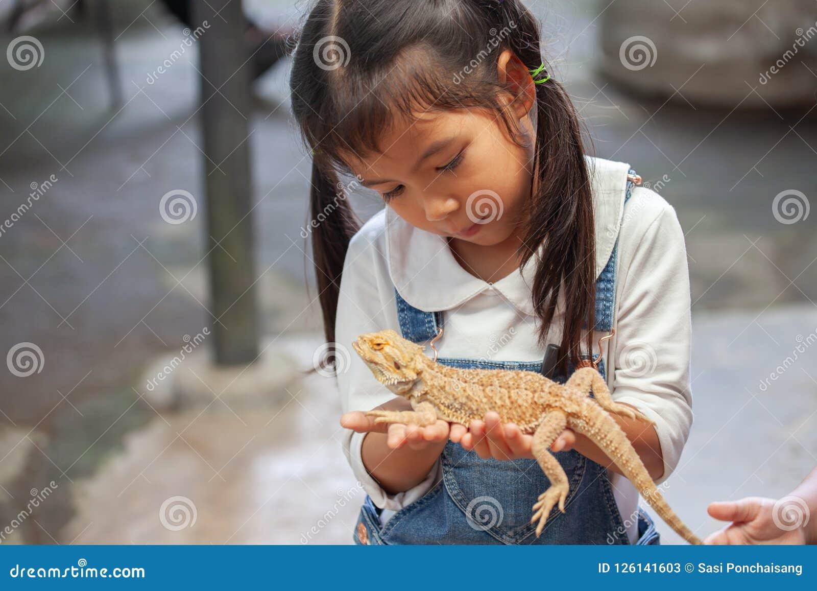 Menina asiática bonito da criança que guarda e que joga com camaleão