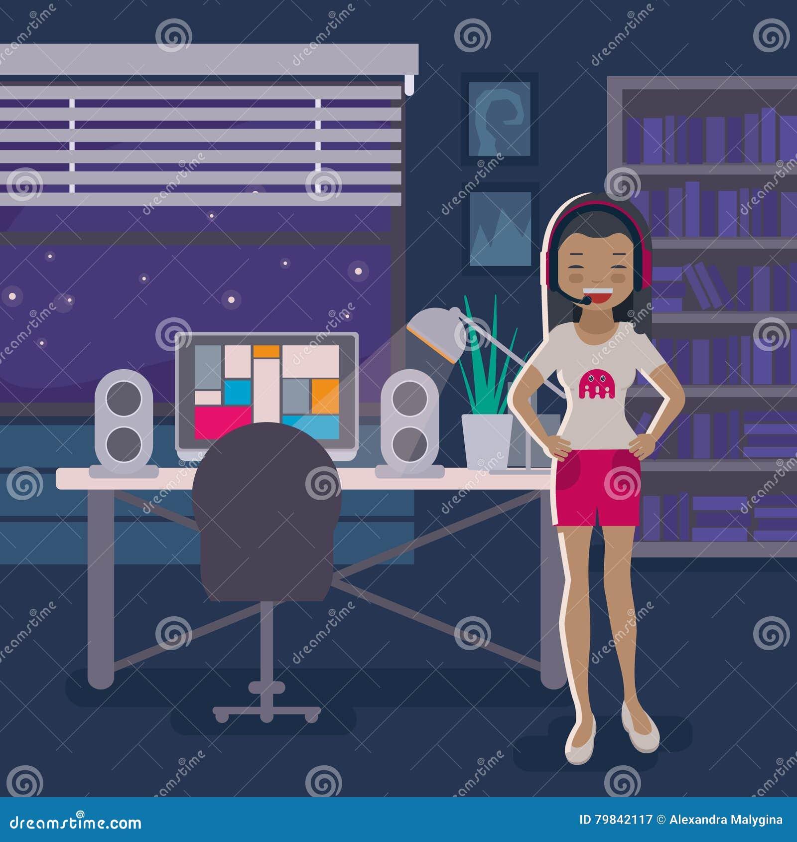 Menina asiática do gamer no fundo da sala de visitas
