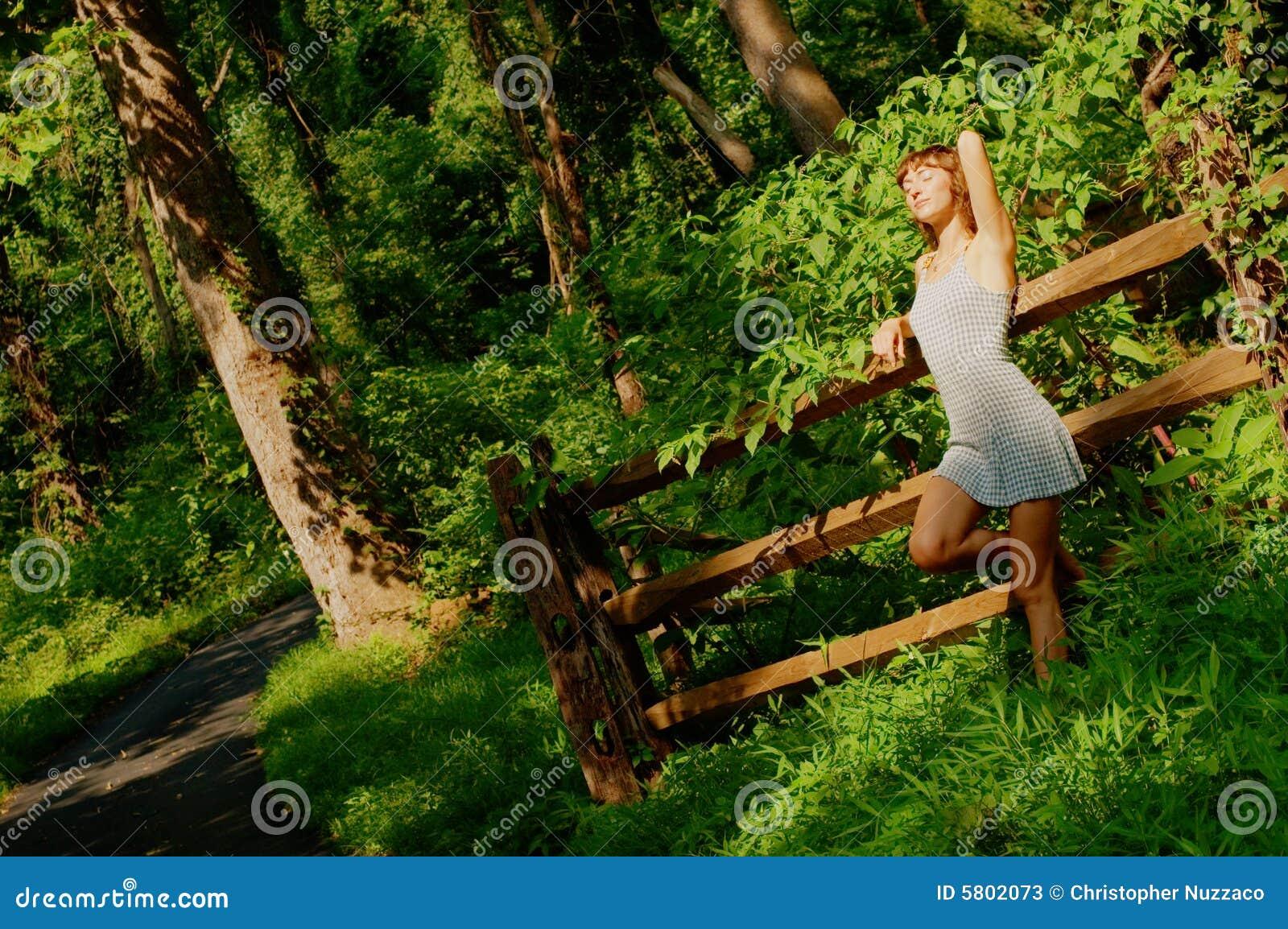 Menina bonita nas madeiras