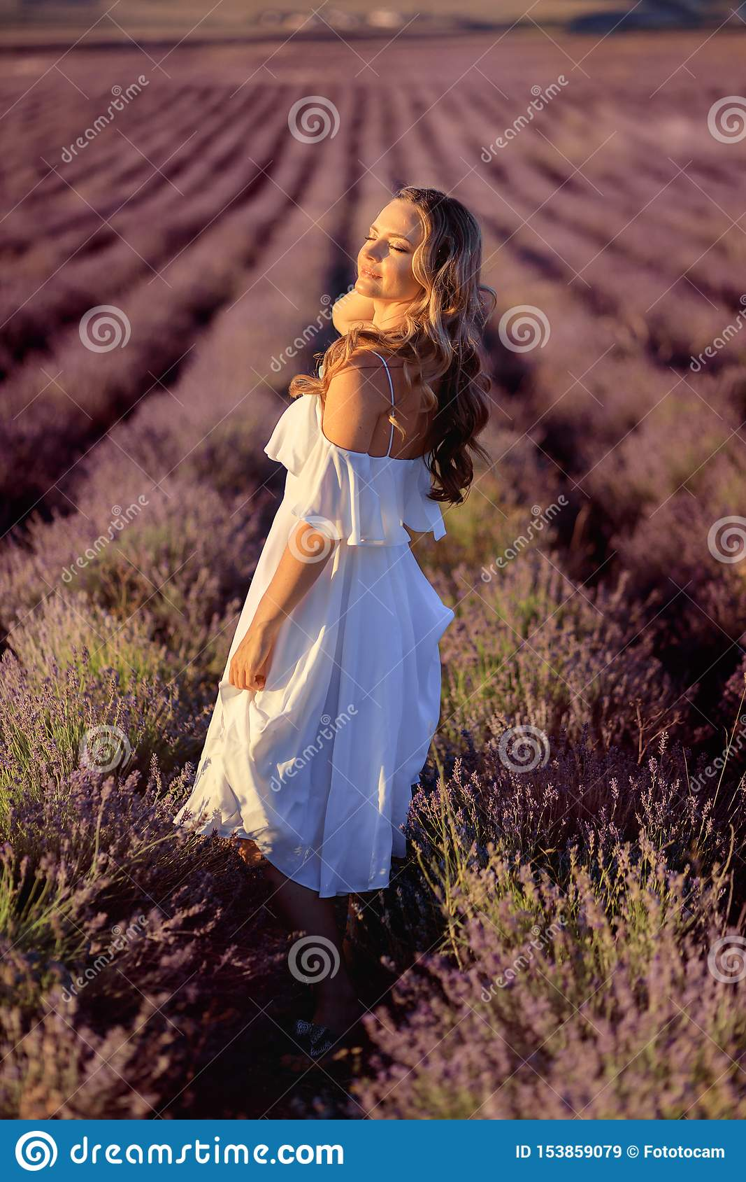 Menina bonita no campo da alfazema Mulher bonita no campo da alfazema no por do sol