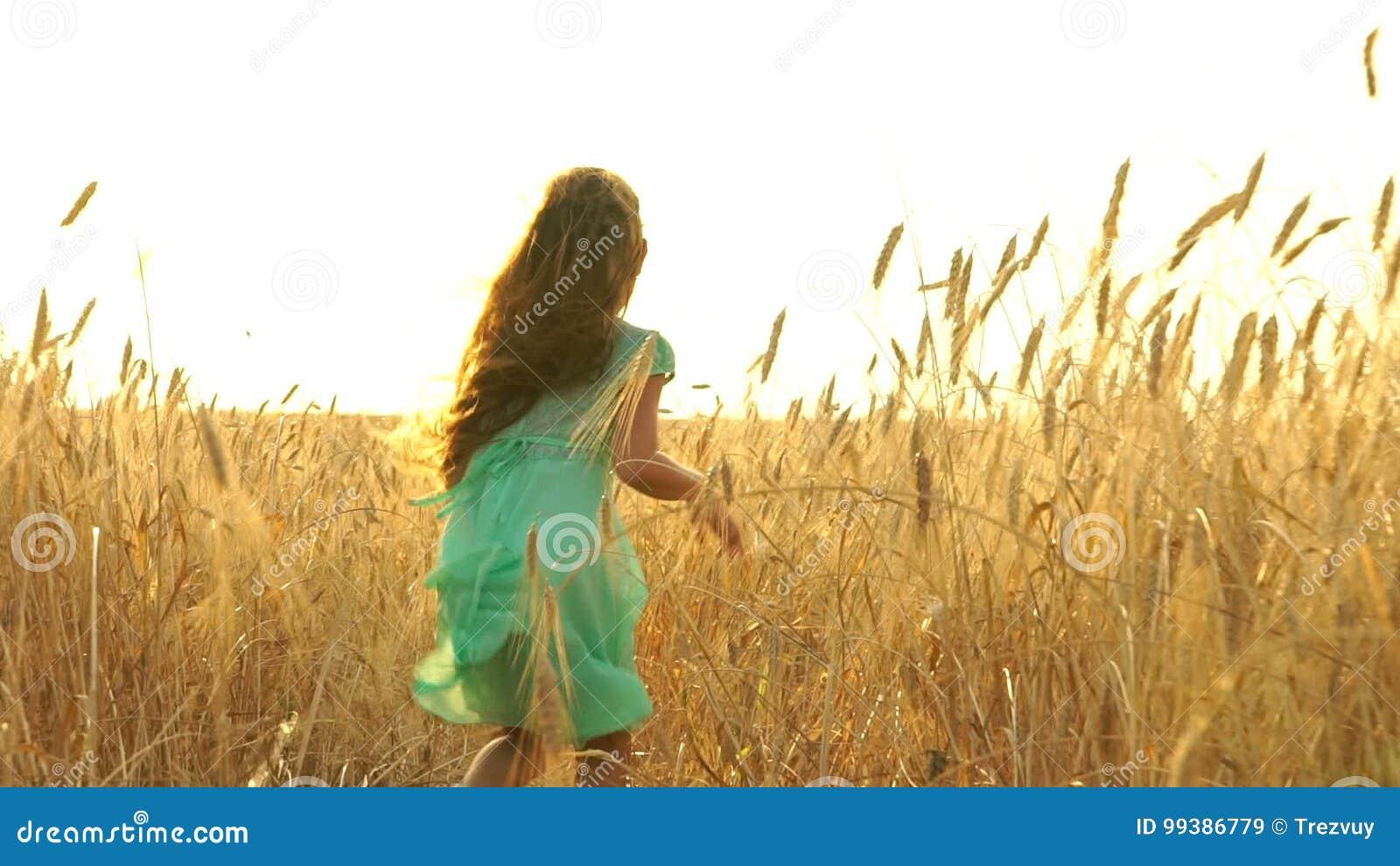 A Menina Bonita No Vestido Esta Correndo Atraves Do Campo Video Estoque Video De Lento Sonhos 99386779
