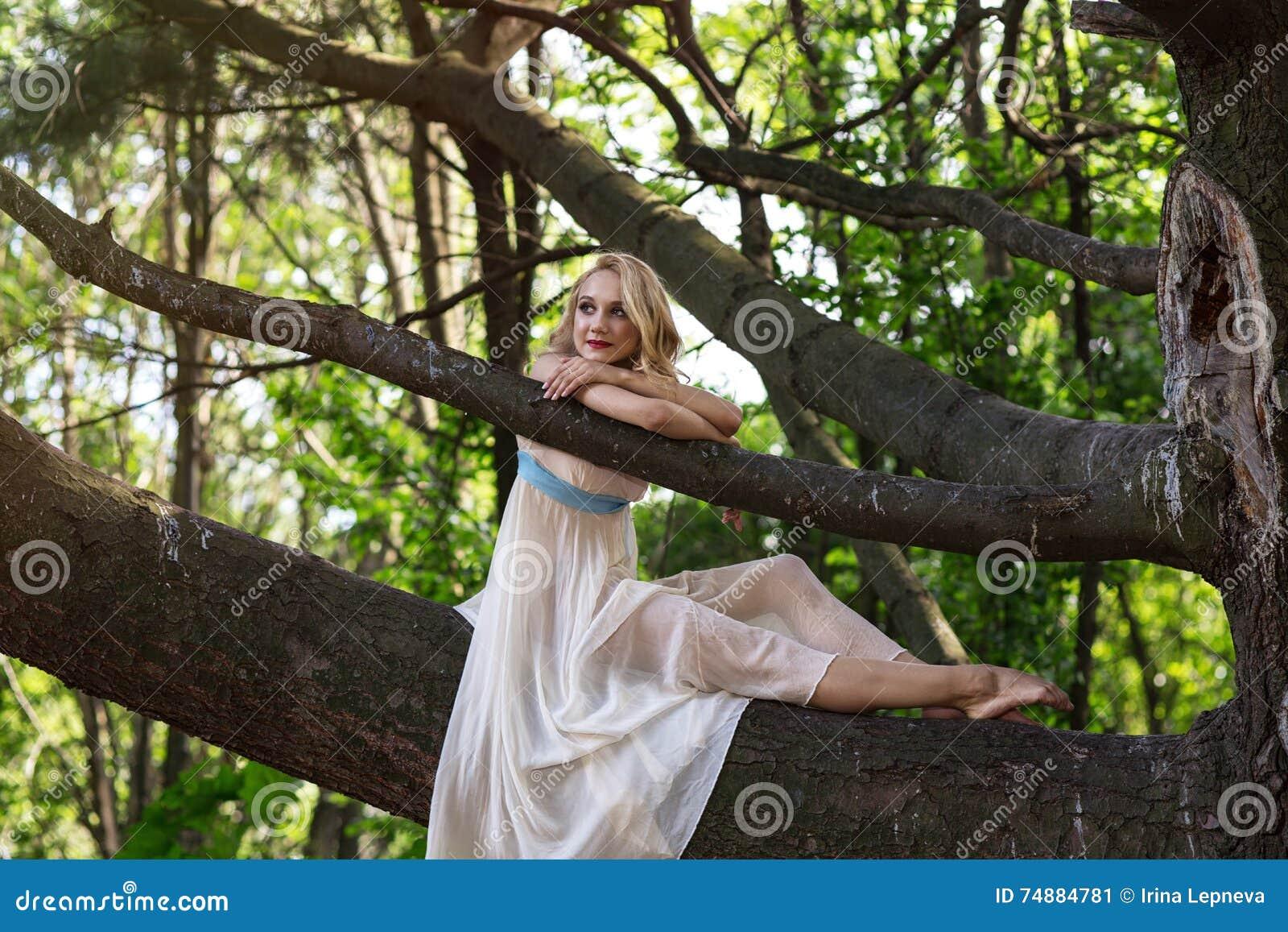 Menina bonita nova que senta-se em uma árvore grande no parque do verão