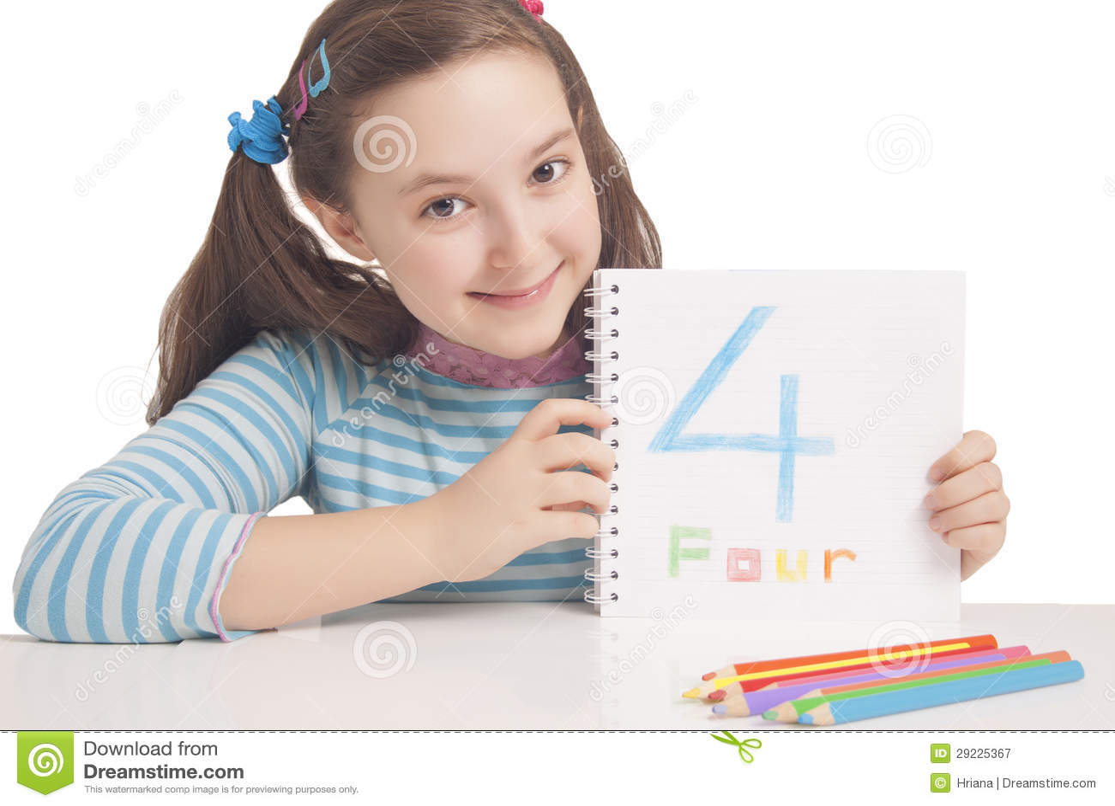 Download Menina Bonita Que Mostra O Número Quatro Imagem de Stock - Imagem de instrução, menina: 29225367