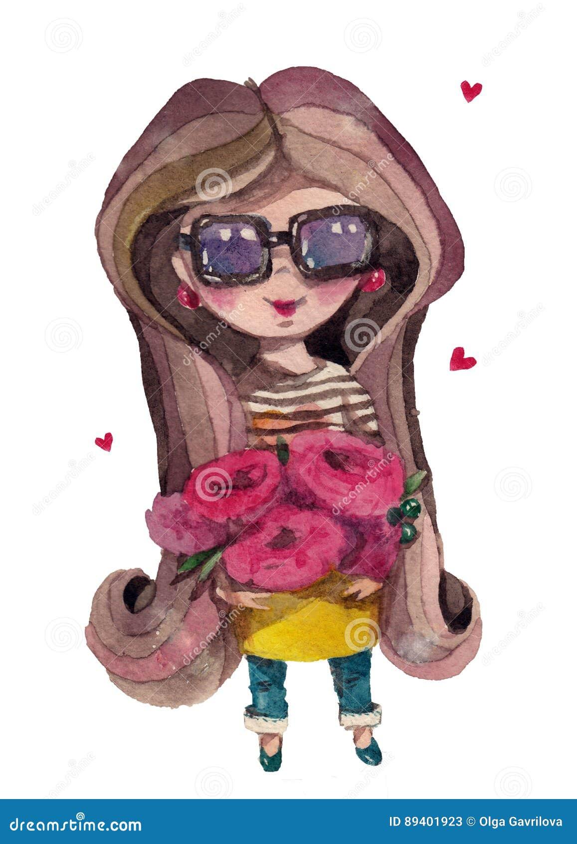Menina bonito do florista dos desenhos animados da aquarela com um ramalhete das flores