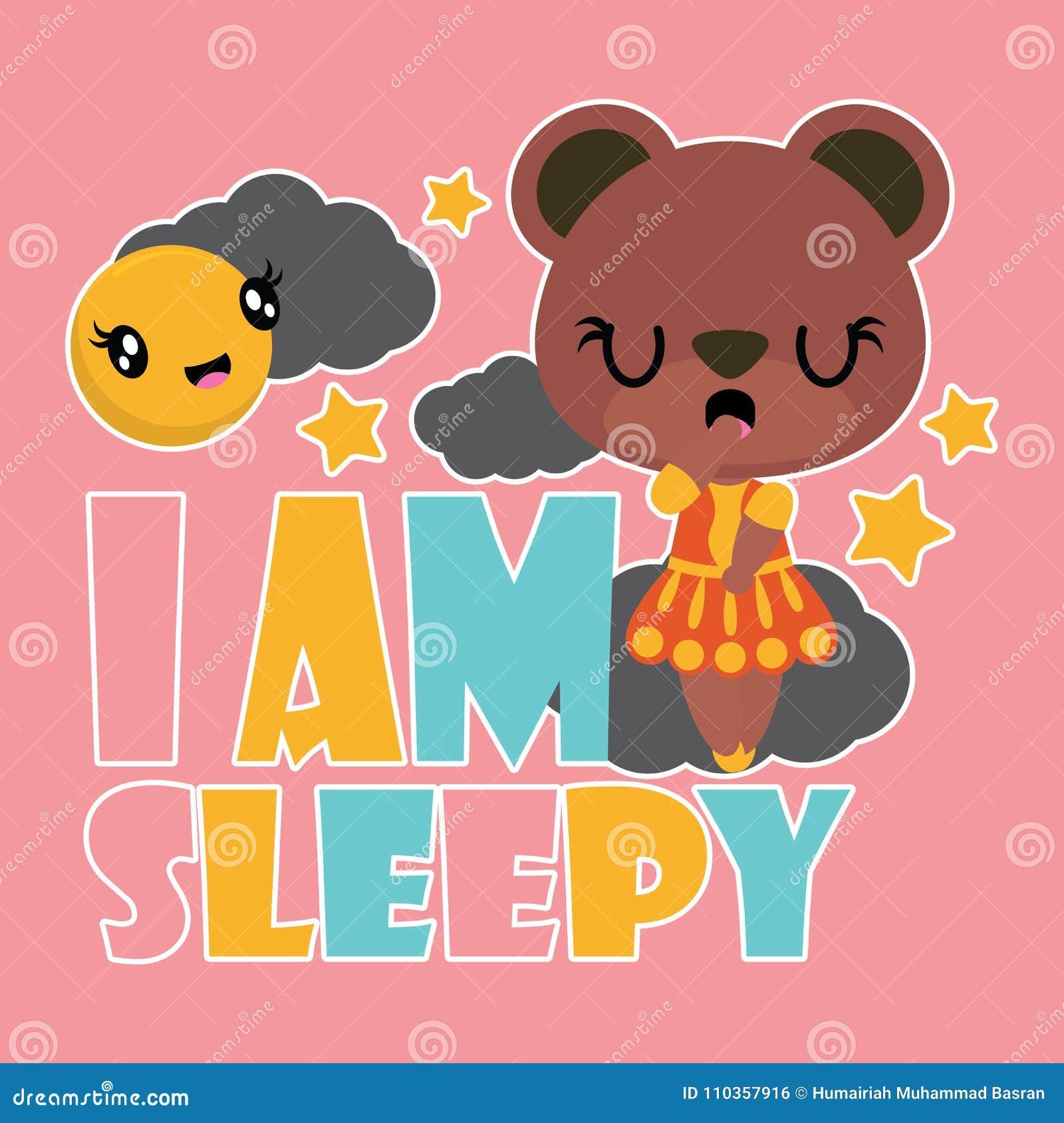 A Menina Bonito Do Urso E Ilustracao Sonolento Dos Desenhos Animados Para O Projeto Do Fundo Do T Shirt Da Crianca Ilustracao Do Vetor Ilustracao De Desenhos Sonolento 110357916