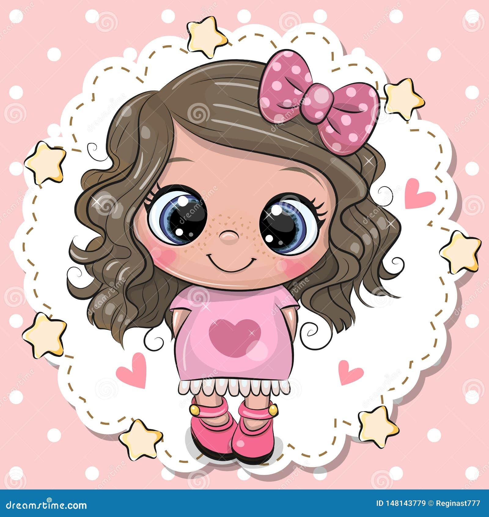 Menina bonito dos desenhos animados com curva cor-de-rosa