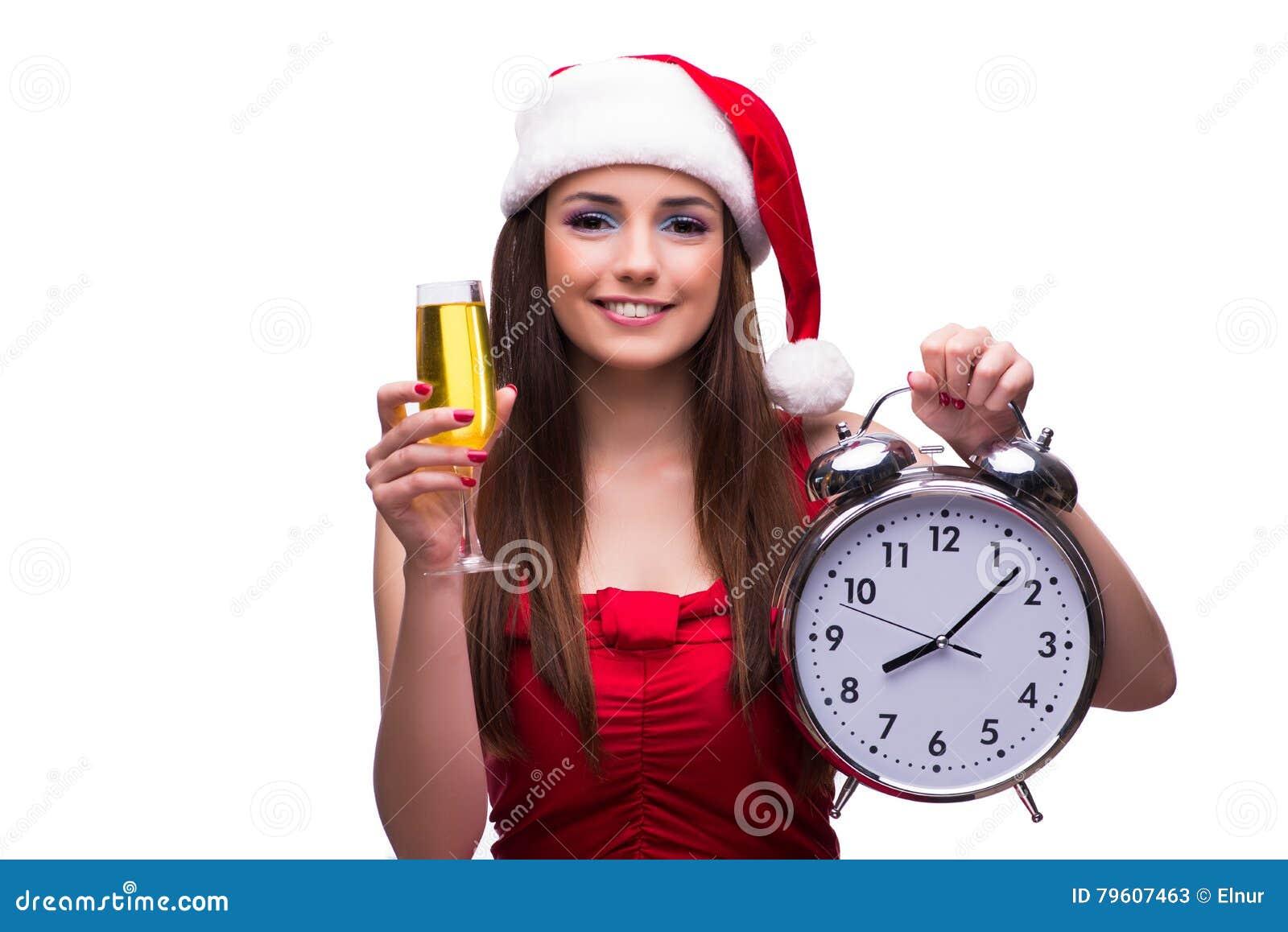 A menina bonito no conceito do Natal isolada no branco