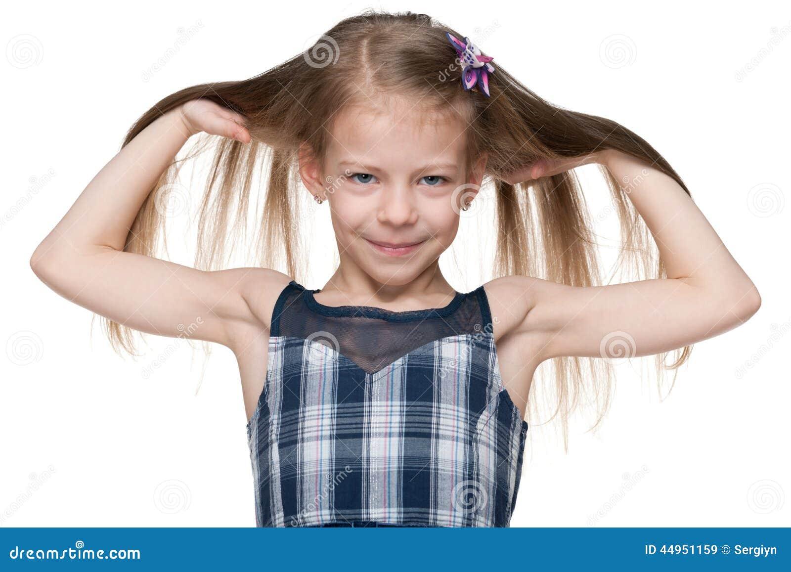 Menina com cabelo de fluxo