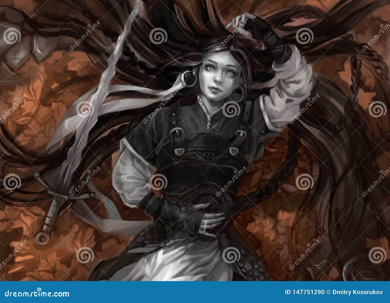 Menina com cabelo longo e pele cinzenta com espada