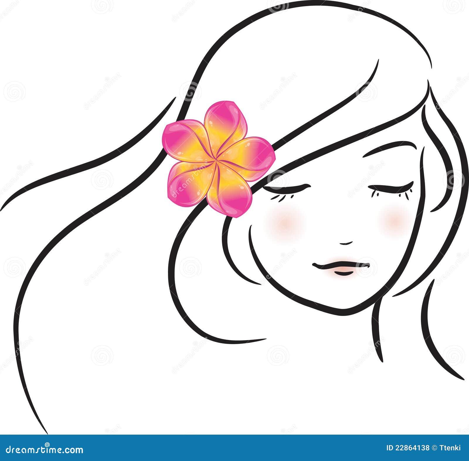 menina com a flor cor de rosa do frangipani fotos de stock