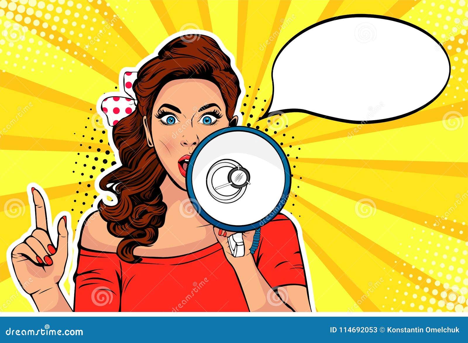 Menina com ilustração retro do vetor do pop art do megafone Mulher com altifalante Disconto ou venda de anunciação fêmea