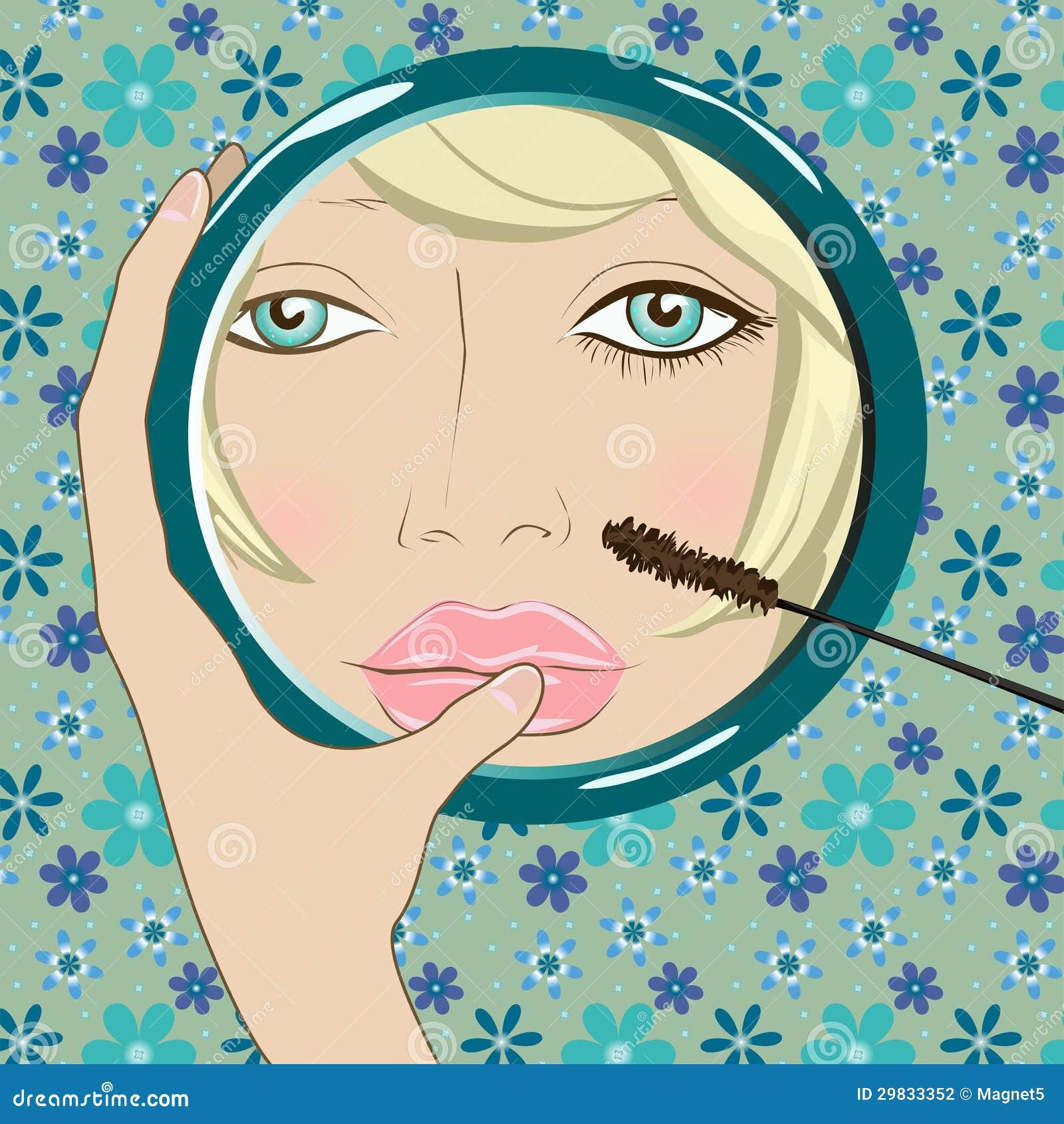 A menina faz a composição no espelho