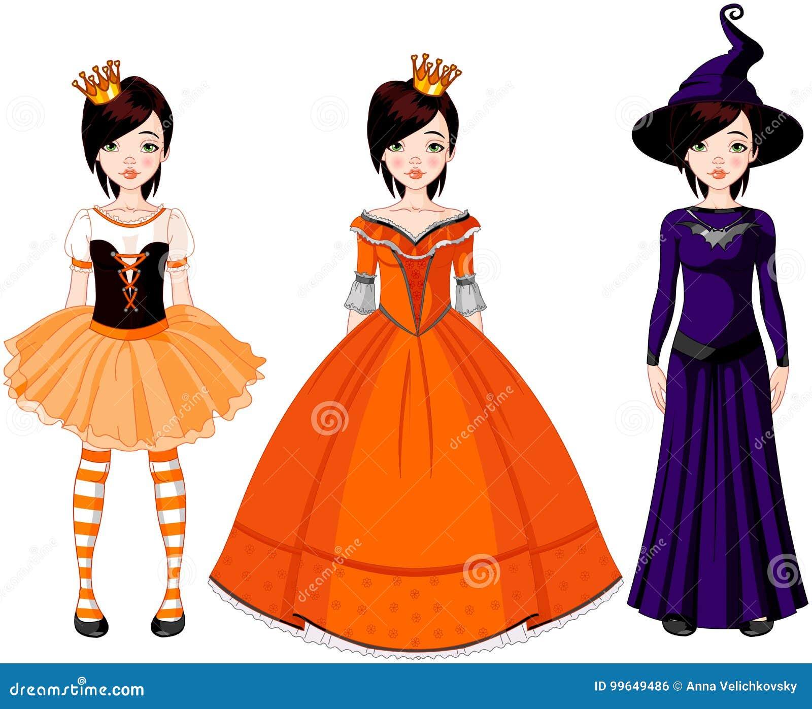 Menina com os vestidos para o partido de Halloween