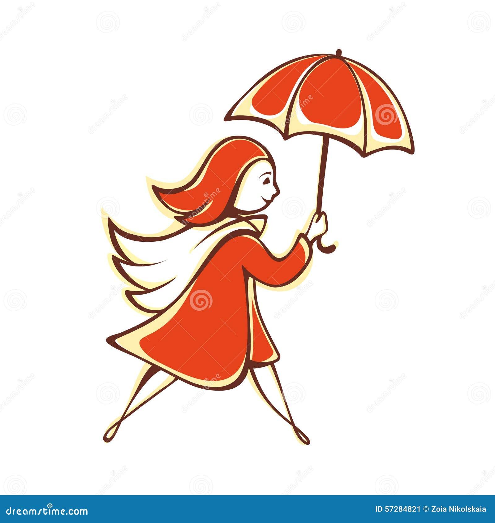 A menina com um guarda-chuva alaranjado emblema pictogram ícone
