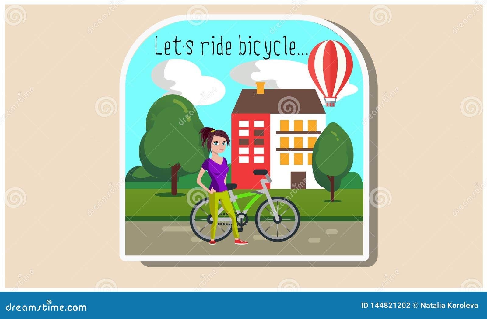 Menina com uma ilustração da bicicleta