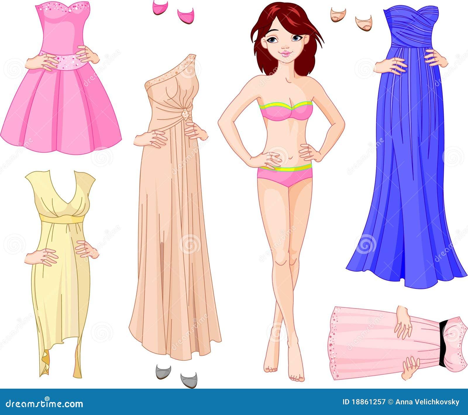 Menina com vestidos de noite