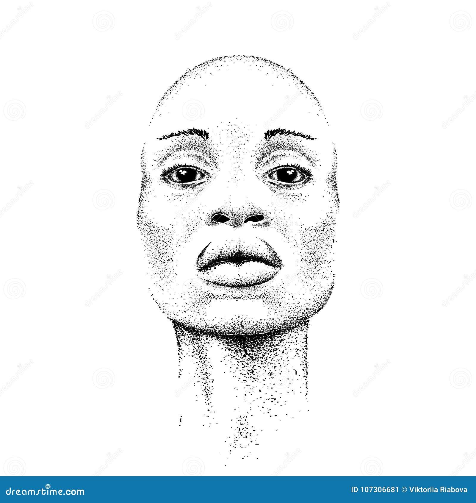 Menina consideravelmente preta Mulher preta bonita Ilustração do vetor da tração da mão