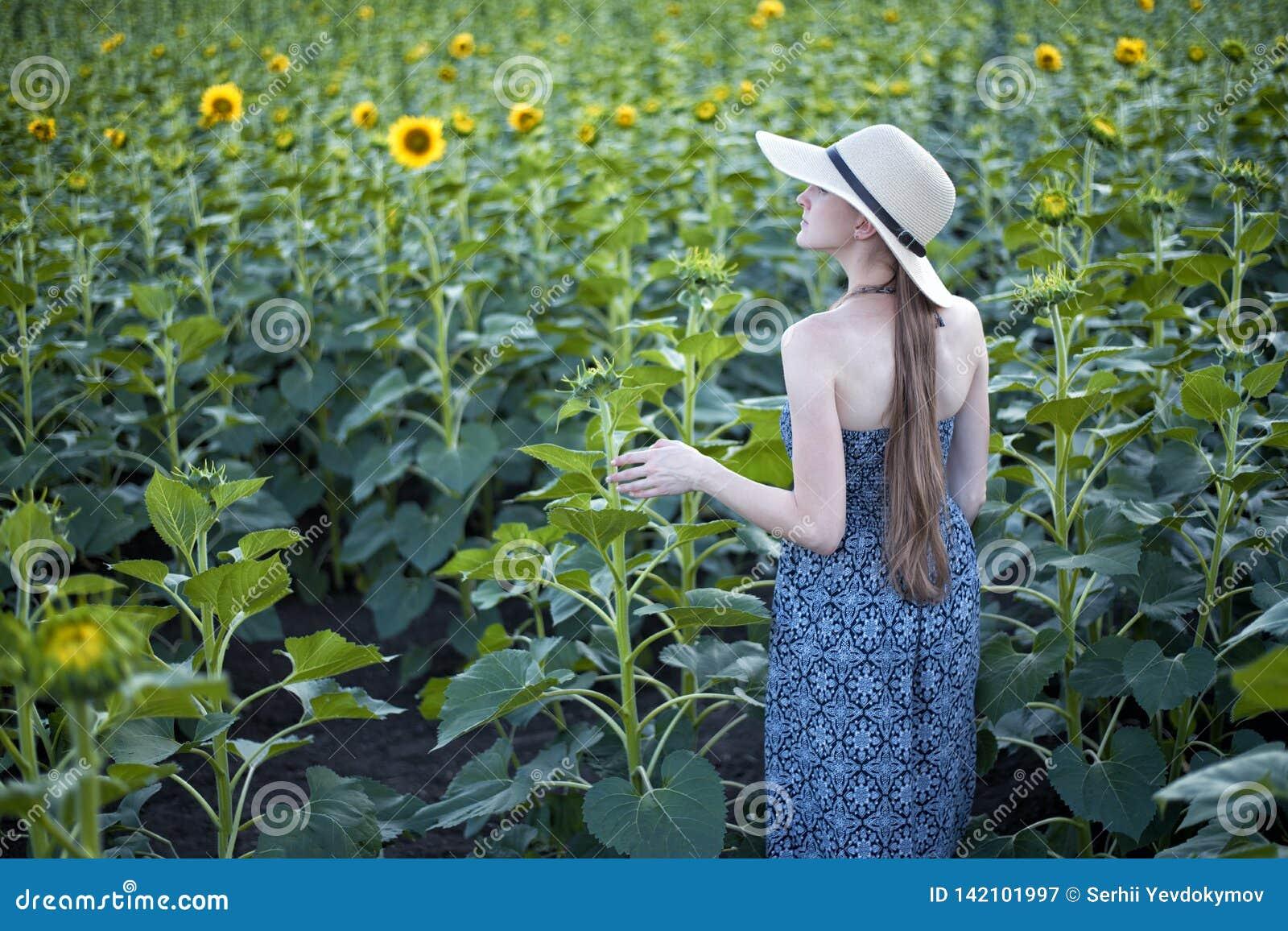 Menina de cabelos compridos em suportes de um chapéu e do vestido com o seu para trás na perspectiva de um campo de florescência