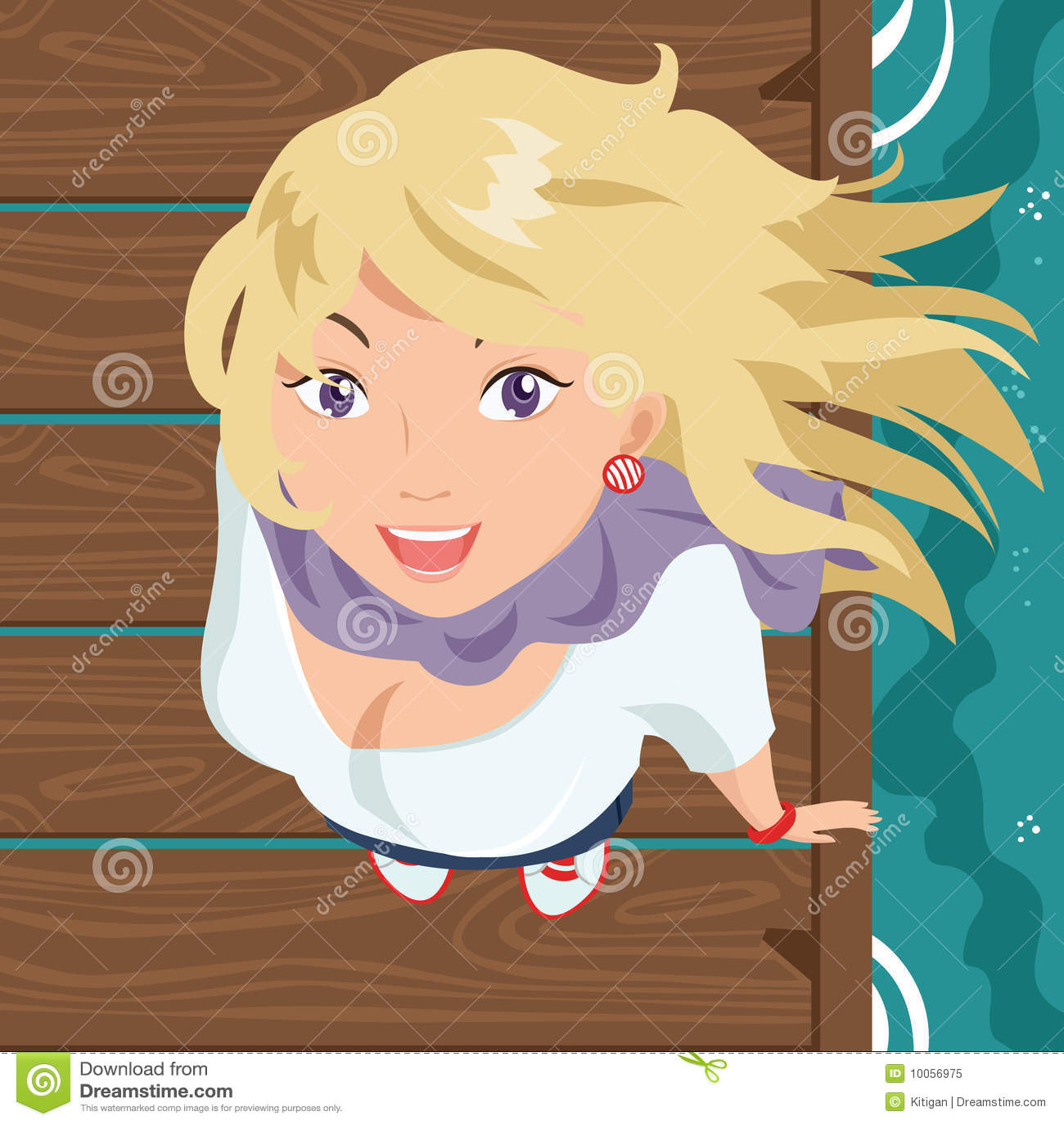 Menina de sorriso no cais