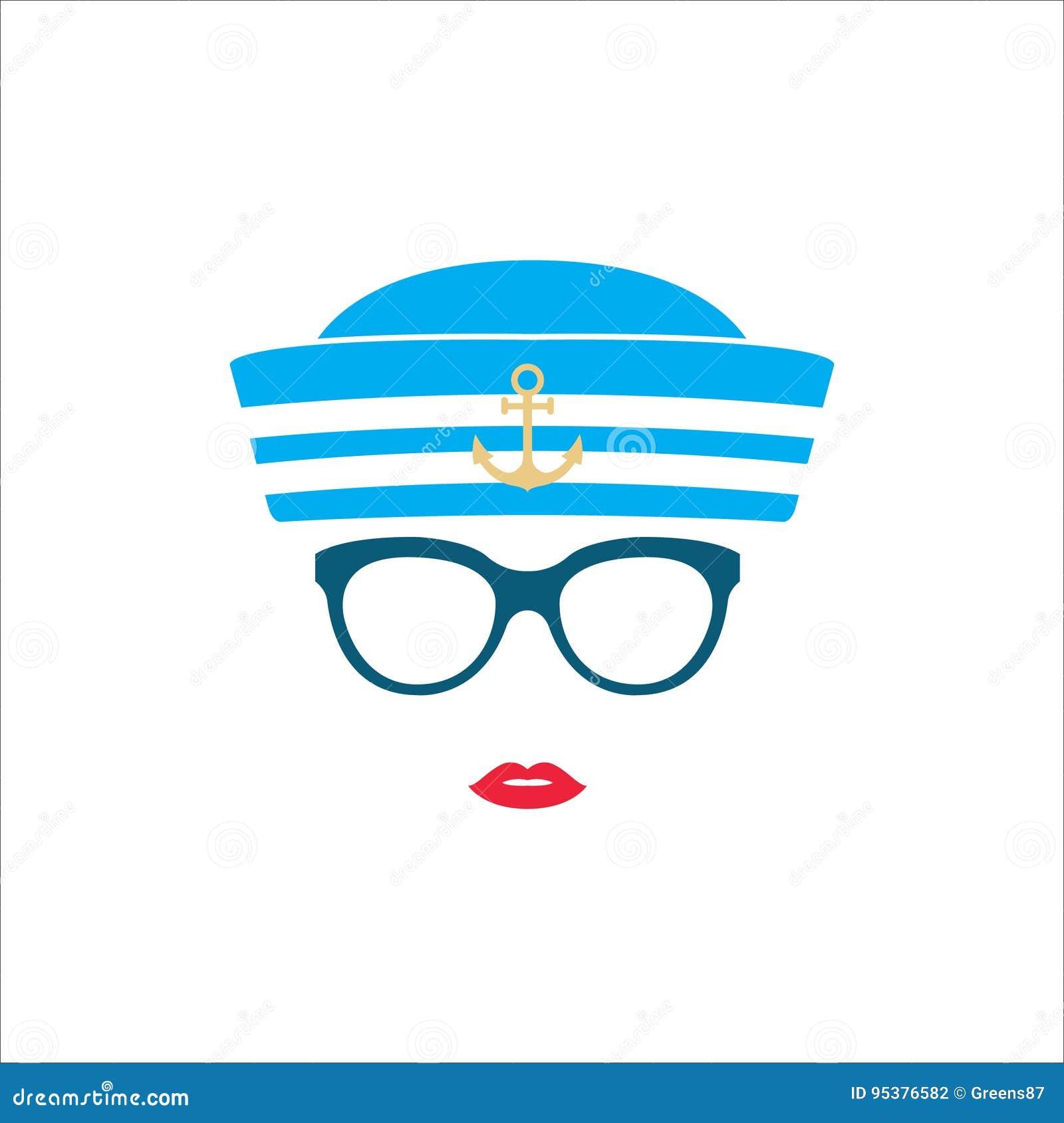 Menina Do Marinheiro No Chapéu Listrado Azul Ilustração do Vetor ... 952656b893c