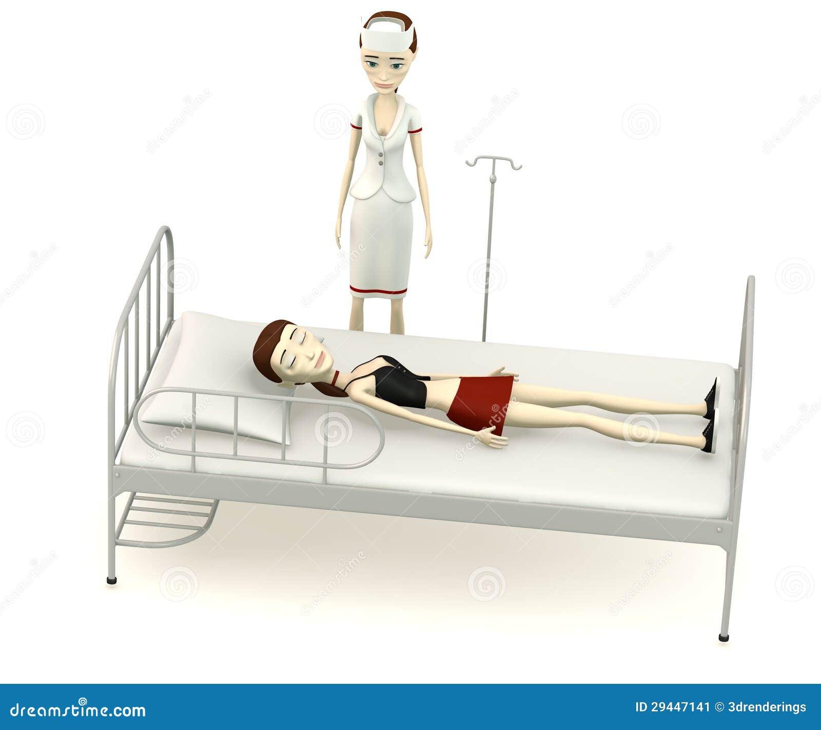 Menina dos desenhos animados na cama de hospital com for Cama para dos