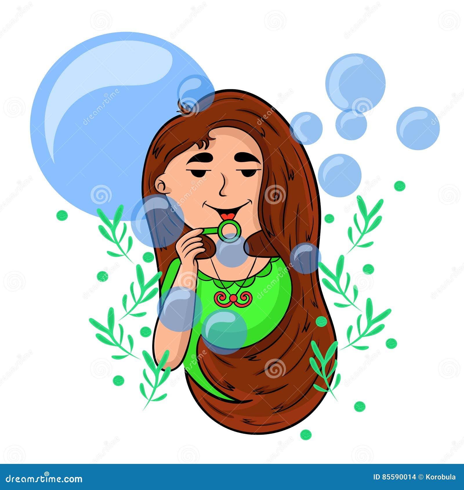 Menina dos desenhos animados que joga com bolhas de sabão