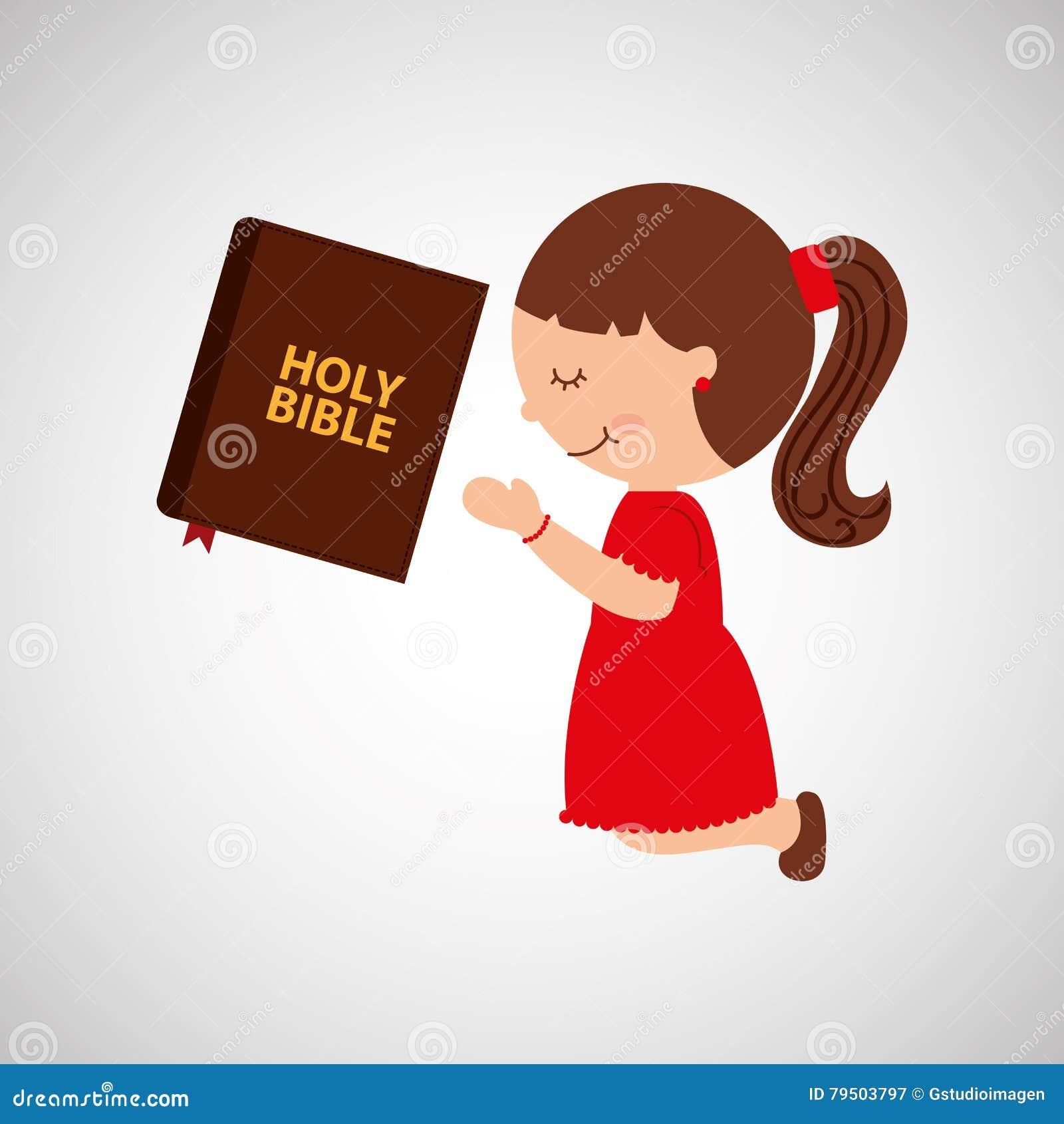 Menina Dos Desenhos Animados Que Reza Com Projeto Da Biblia