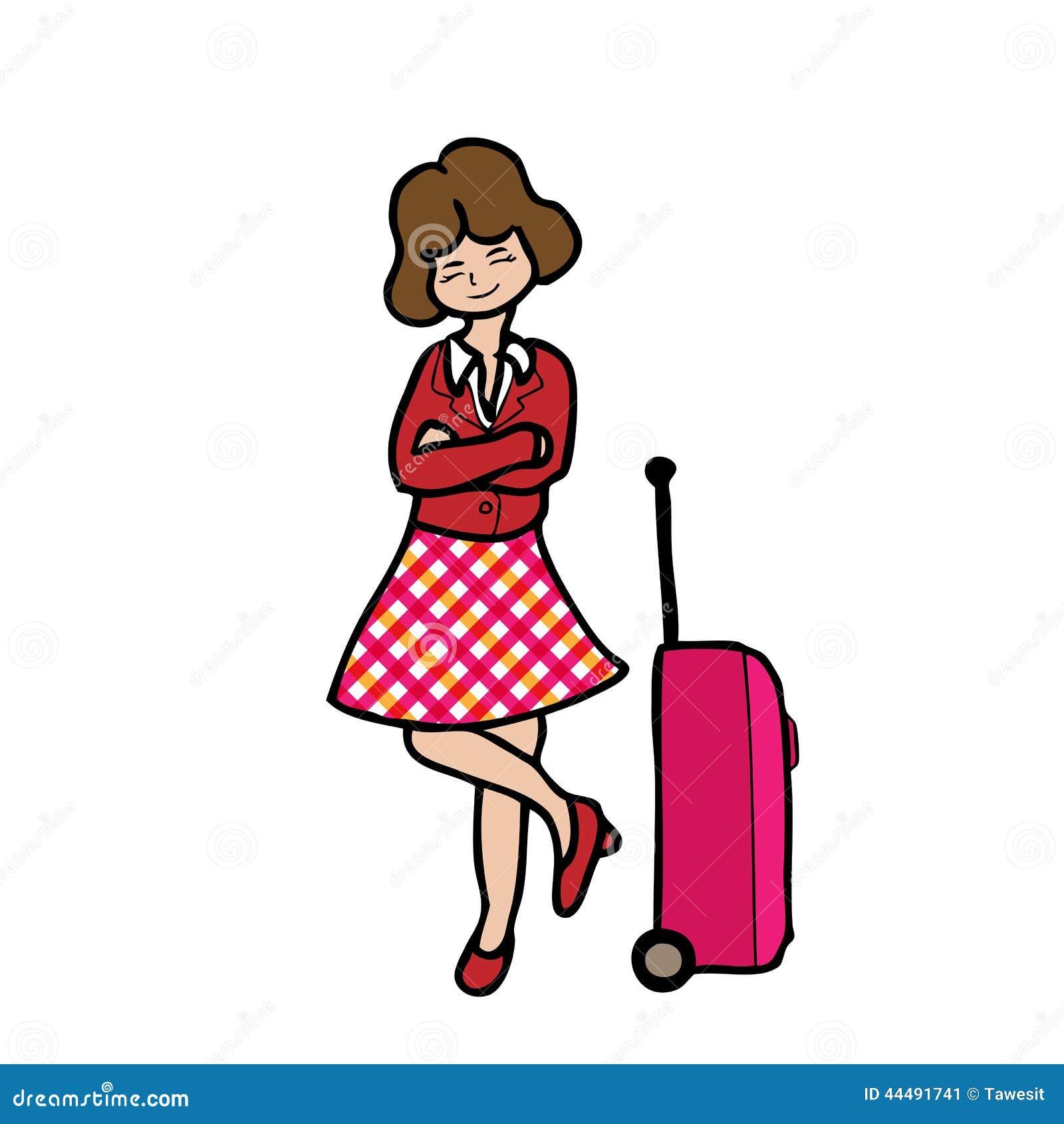 Menina e bagagem do curso