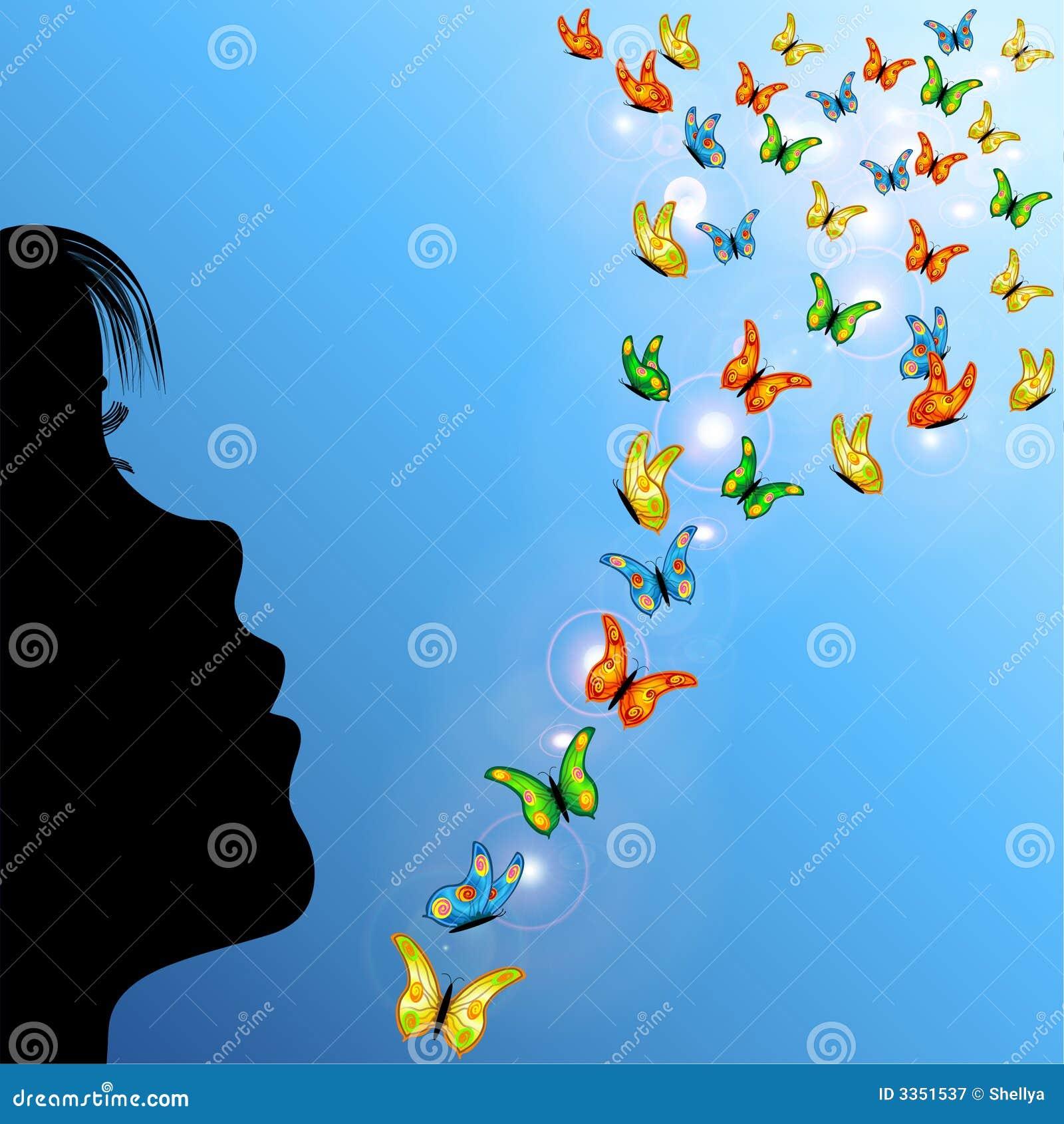Menina e borboletas no céu