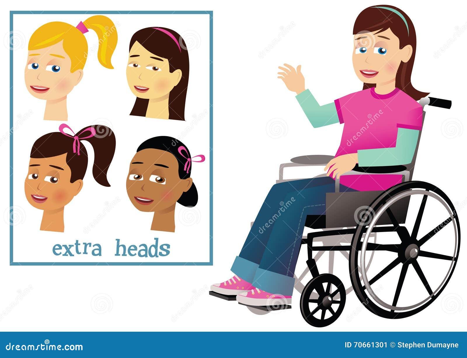 Menina e cadeira de rodas