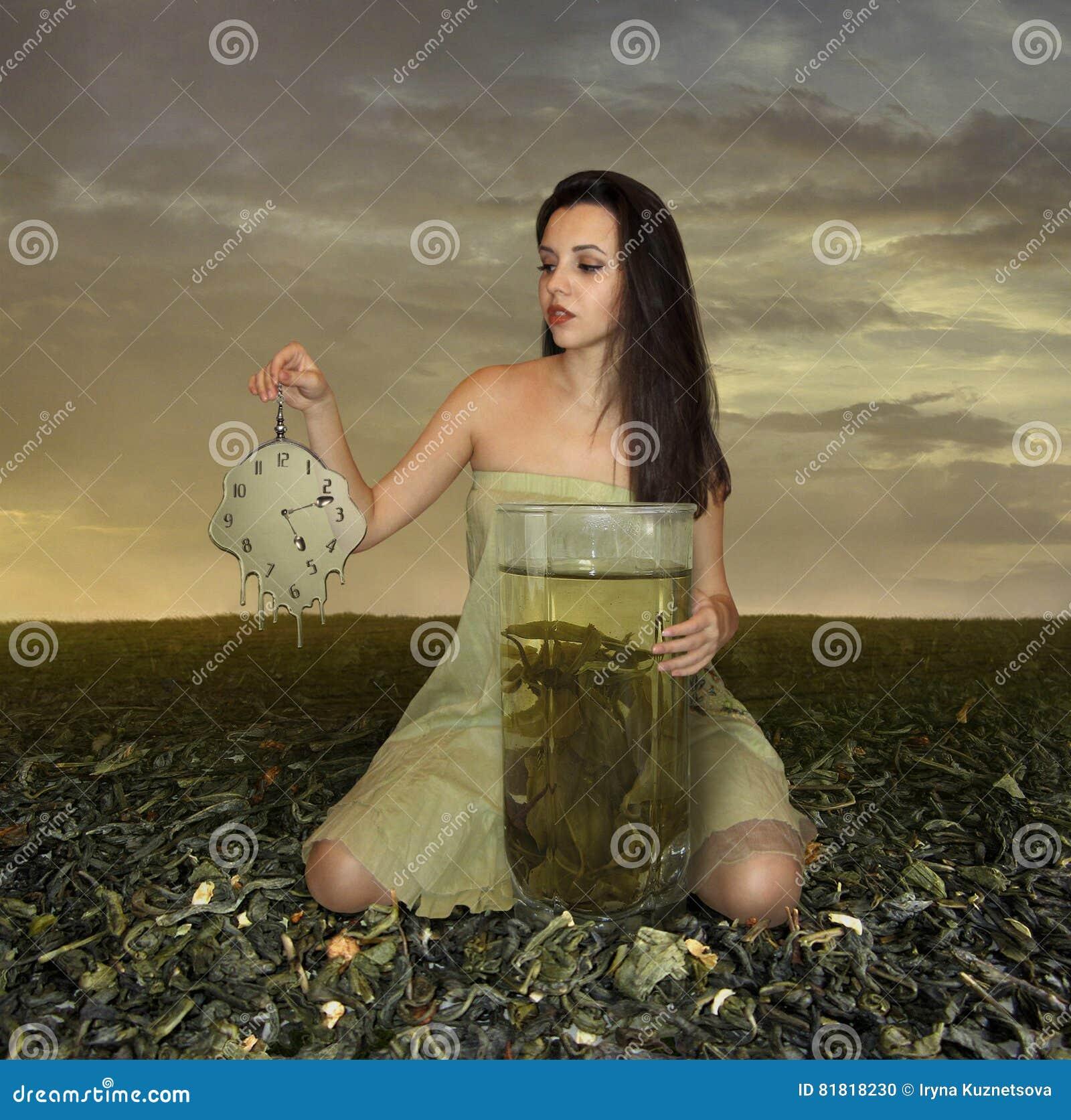 Menina e chá verde