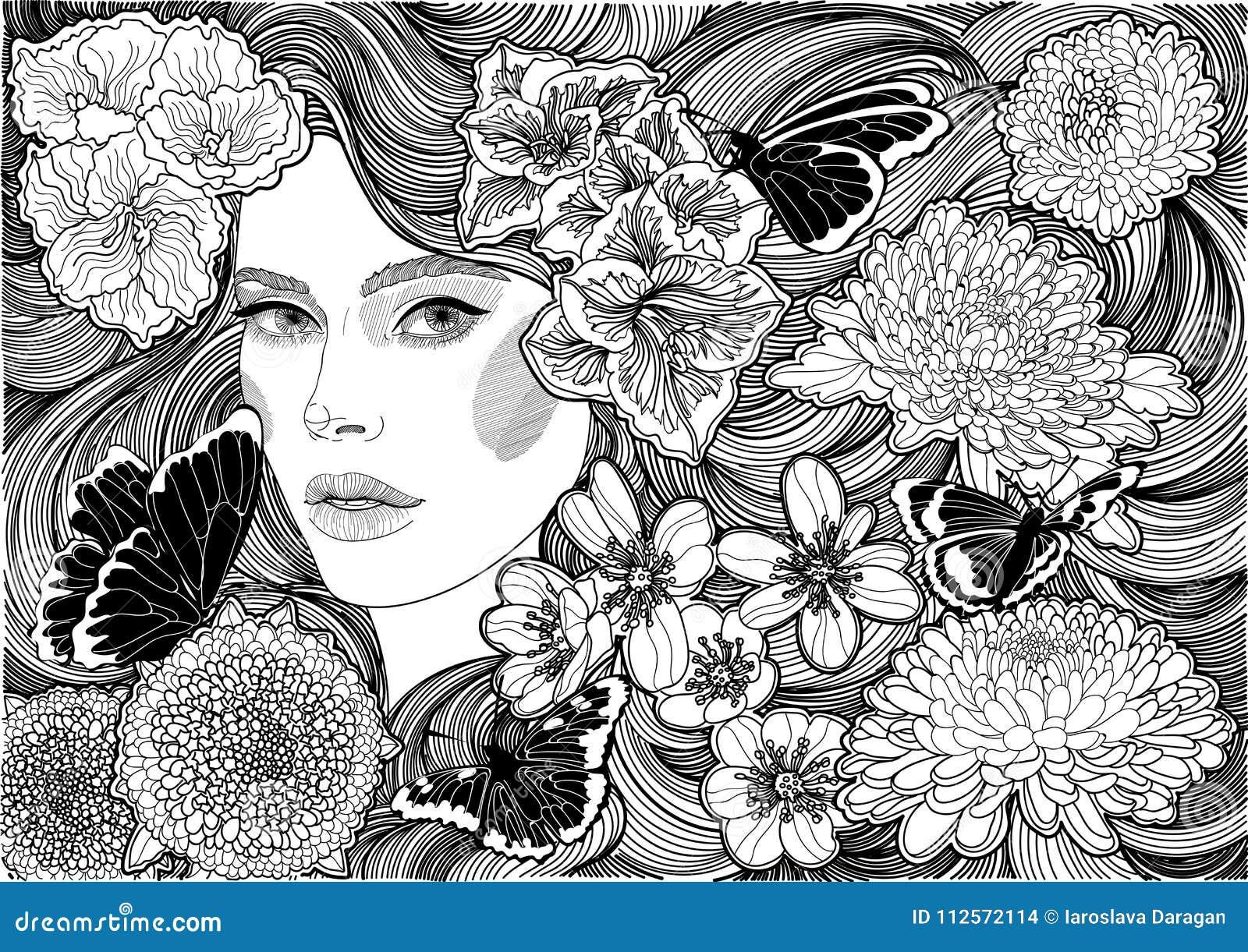 Menina e flores e borboletas preto e branco