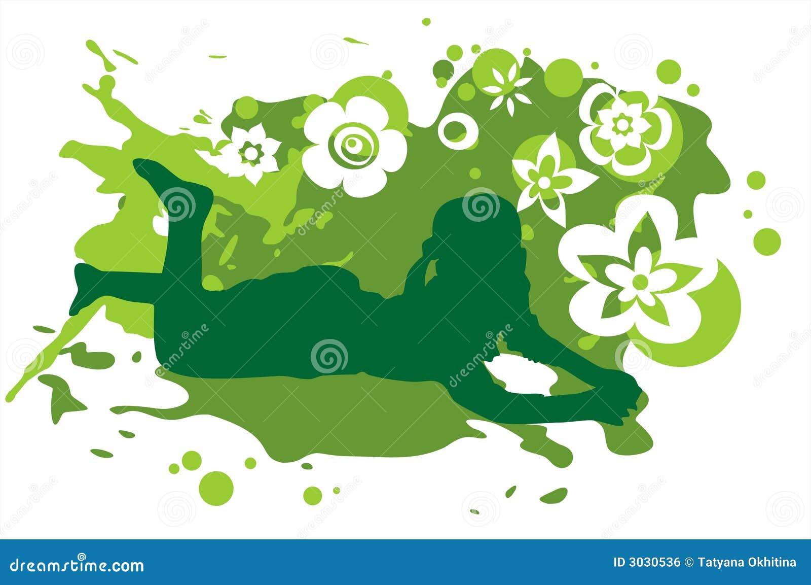 Menina e fundo verde
