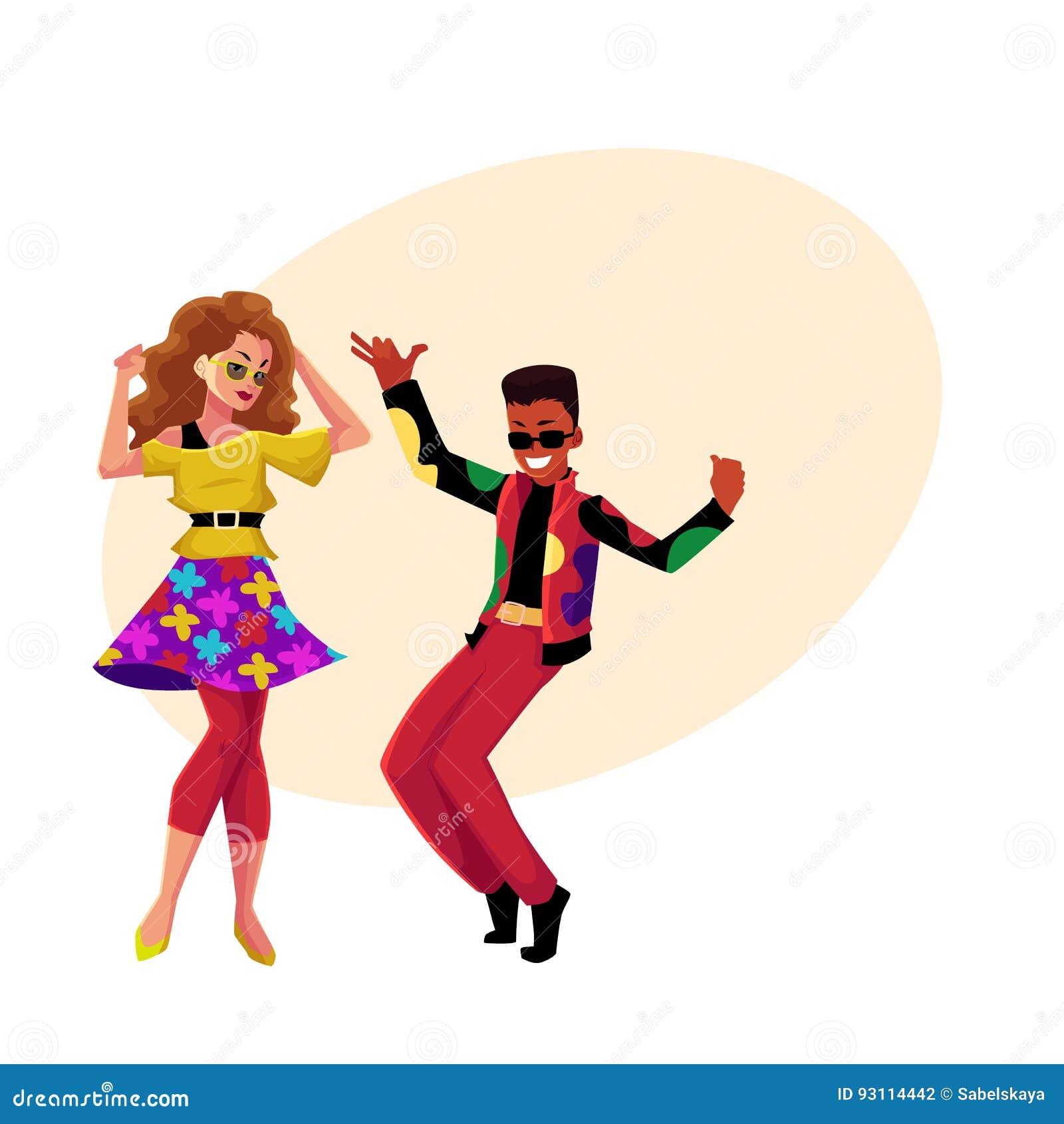 Menina e homem negro caucasianos no partido de disco retro dos anos 80