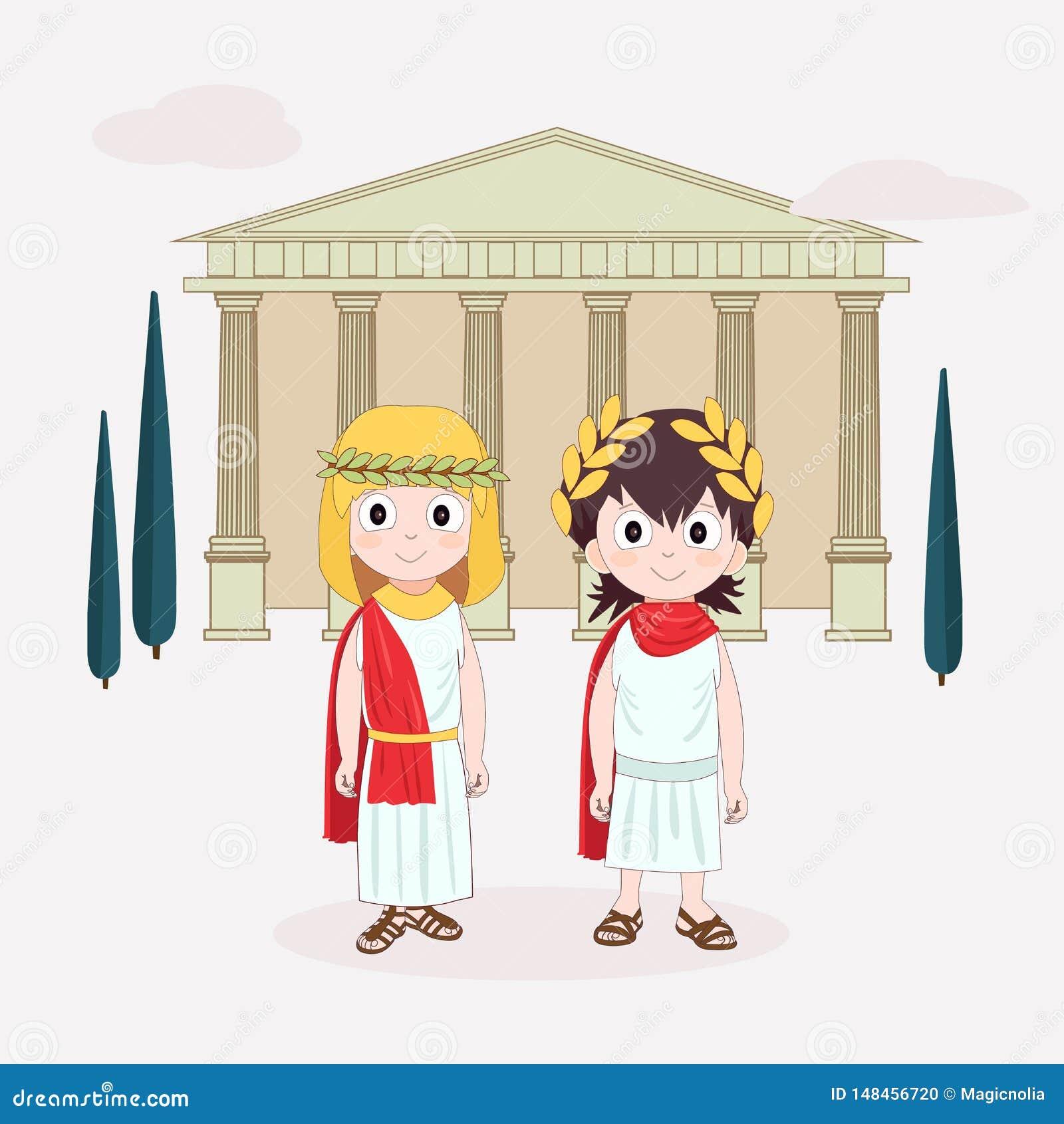 Menina e menino do personagem de banda desenhada que vestem o traje antigo Roma antiga para crian?as Ilustra??o do vetor com temp