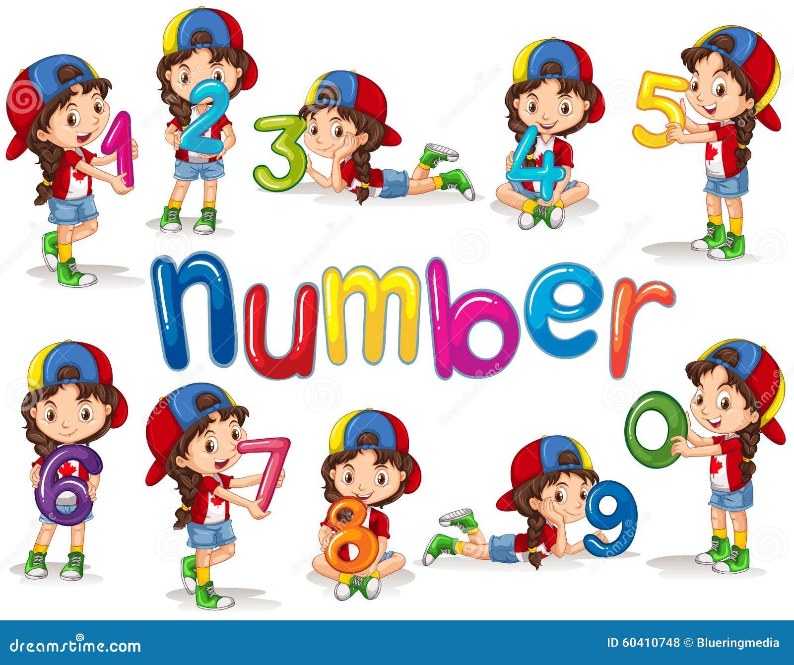 Menina e números zero nove