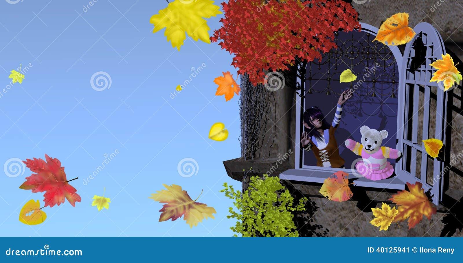 Menina e urso de peluche que joga com folhas de outono