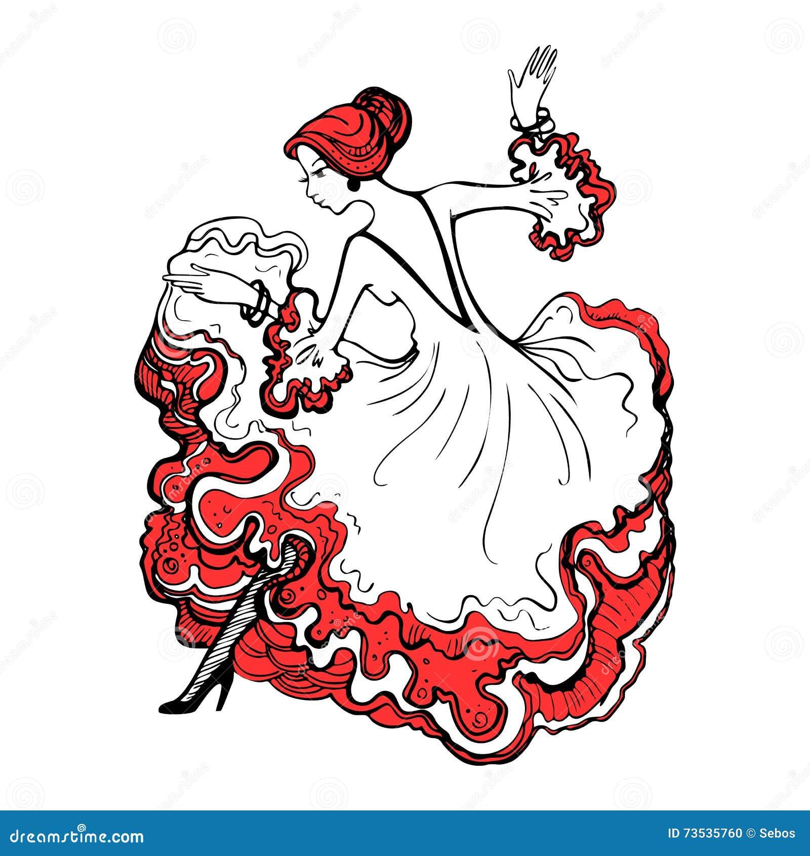 Menina em um vestido de bola bonito Flamenco espanhol da dança da mulher g