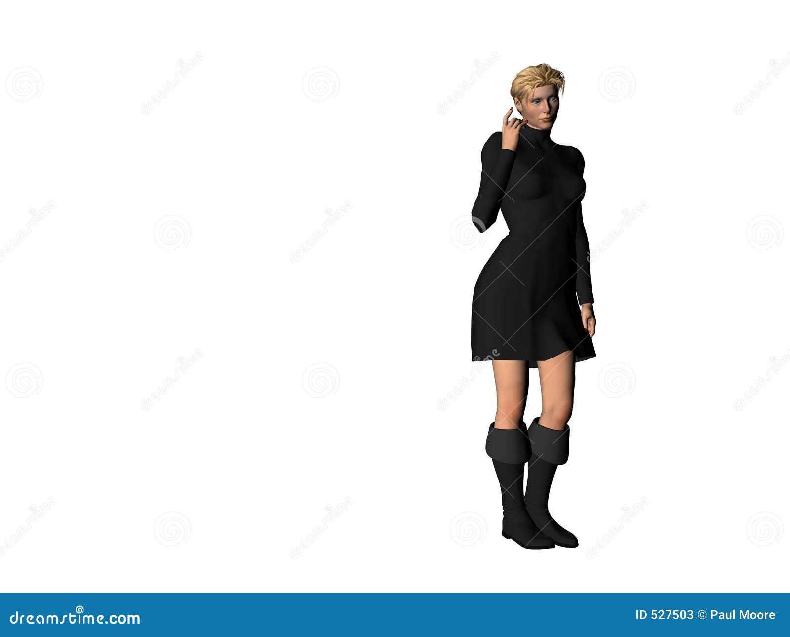 Menina em um vestido preto 11