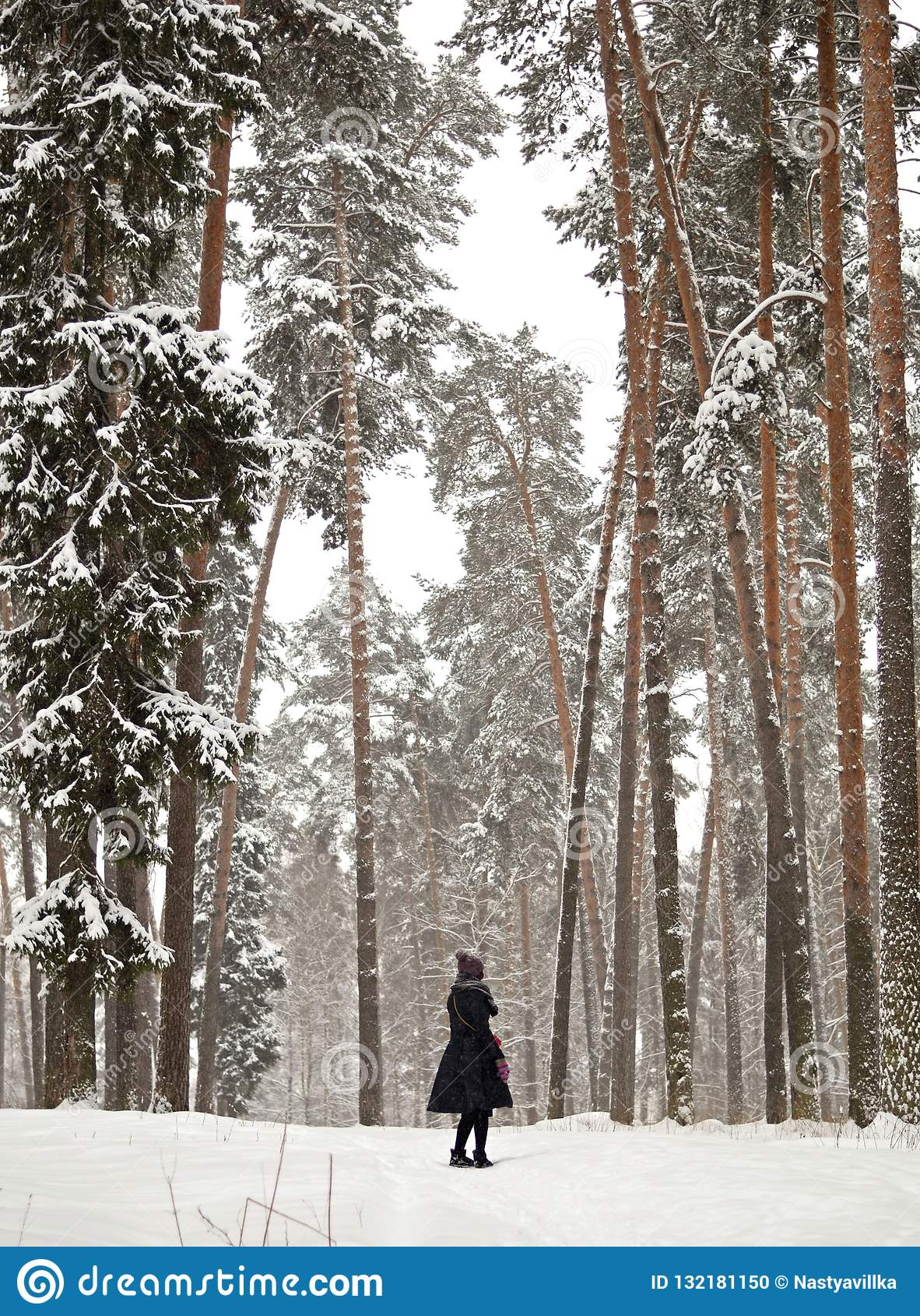 Menina em uma floresta do pinho entre as árvores grandes