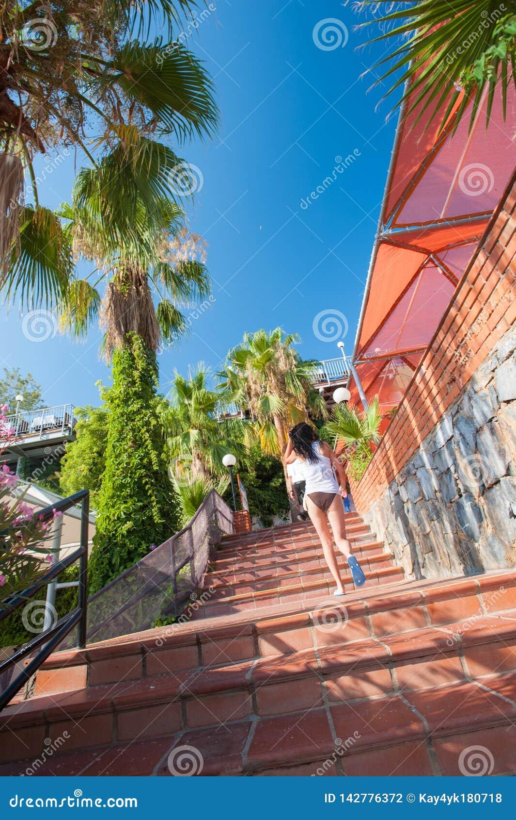 A menina escala as escadas vermelhas, palmeiras, resto, sol