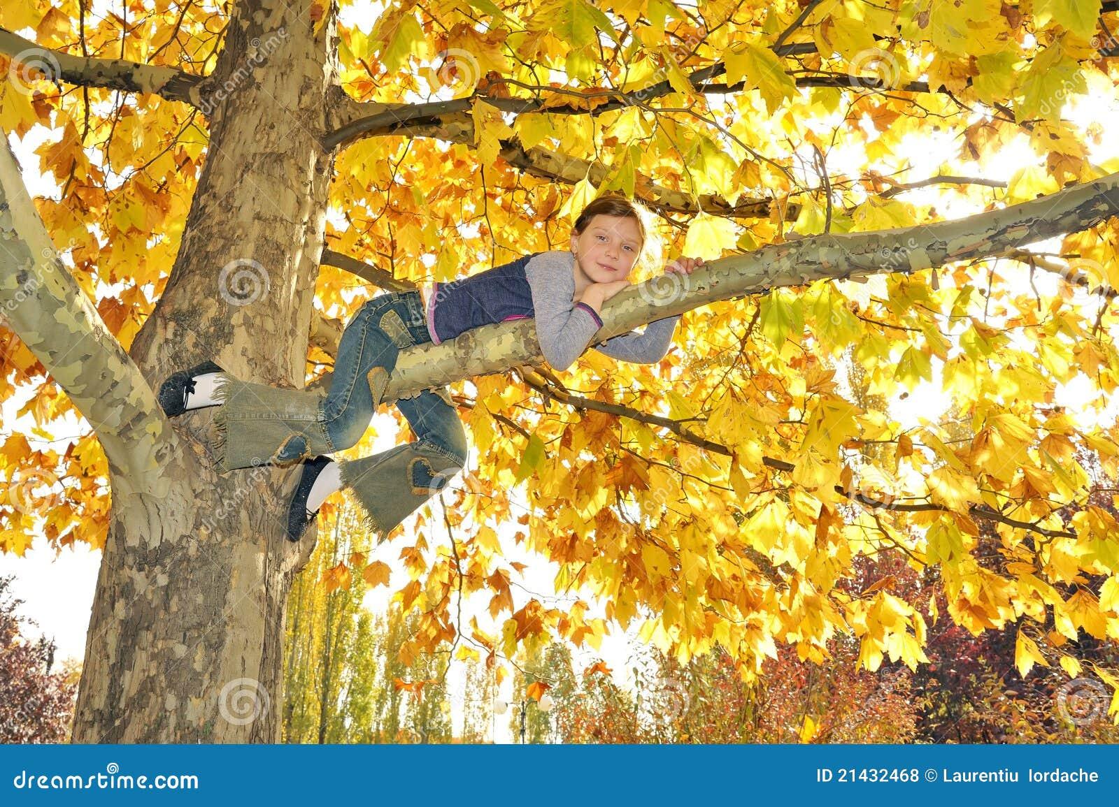 Menina escalada na árvore