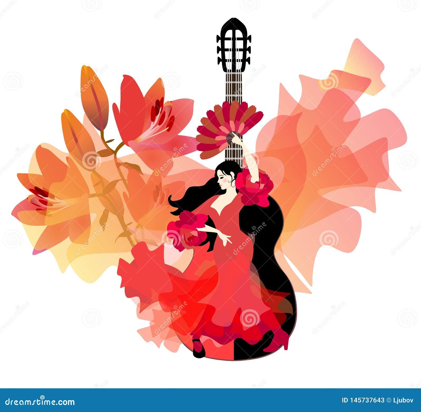 A menina espanhola no vestido vermelho com plissados nas luvas no formulário das rosas, com o fã em sua mão, está dançando o flam