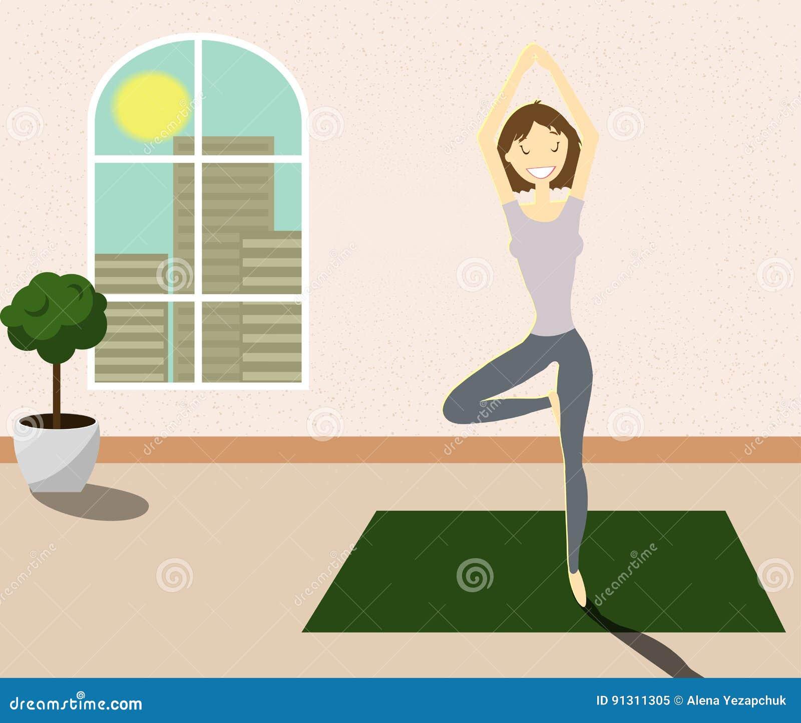 Menina feliz na pose da ioga Vetor
