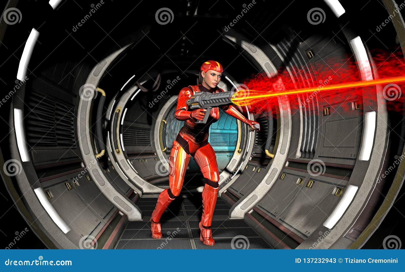 Menina futurista do guerreiro, disparando com a arma pesada dentro da nave espacial, ilustração 3d