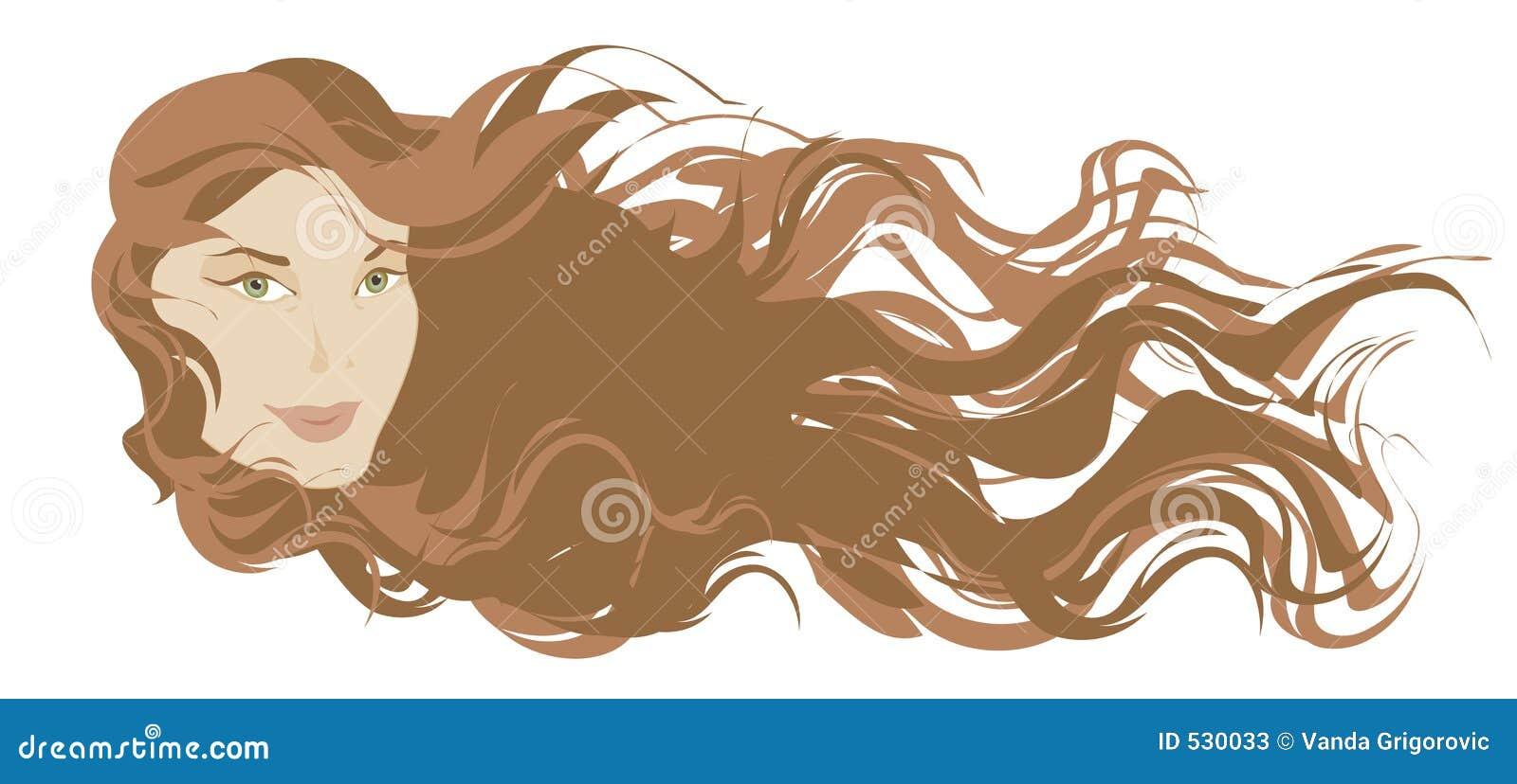 Menina longa bonita do cabelo
