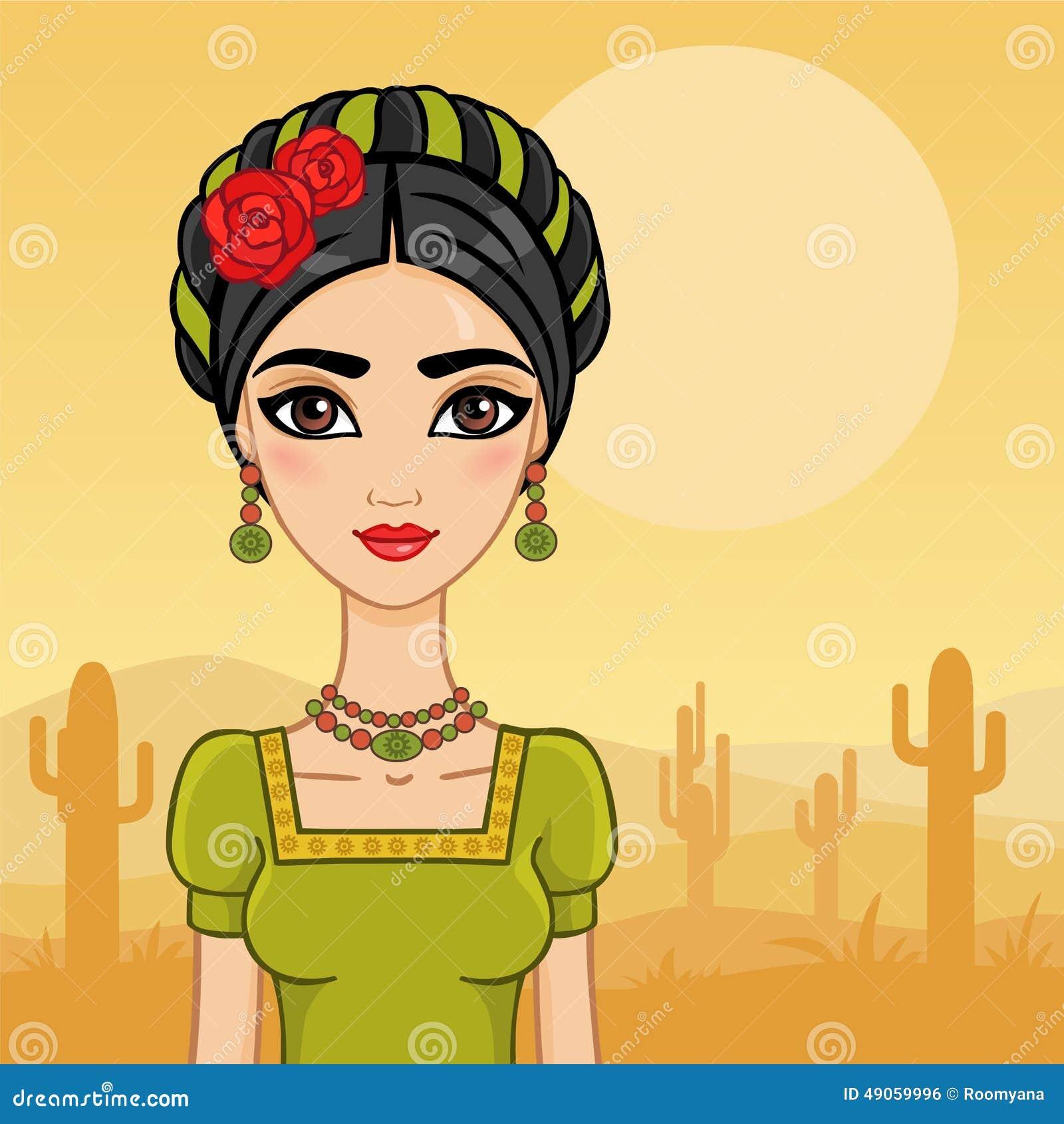 5e32c344a8c50 Menina mexicana ilustração do vetor. Ilustração de olhos - 49059996