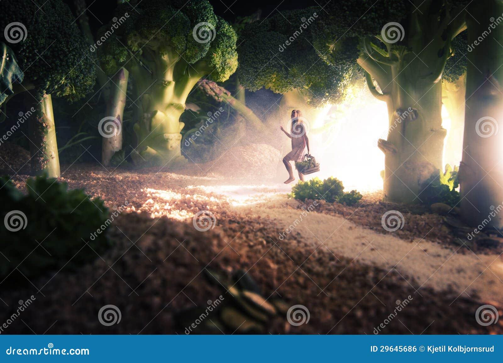 Menina na floresta do alimento