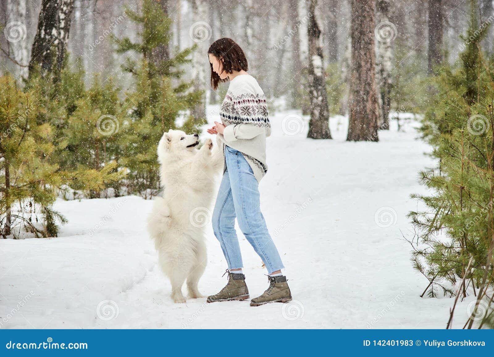 Menina na floresta do inverno que anda com um cão A neve está caindo